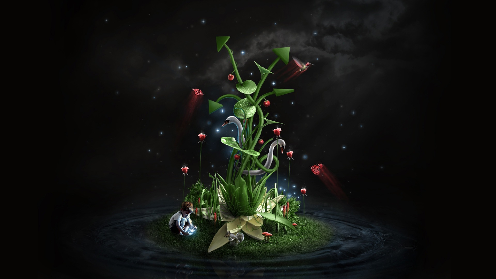 outer space Swans Plants HD Wallpaper