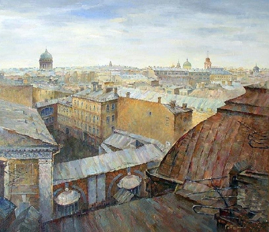 paintings cityscapes rooftops HD Wallpaper