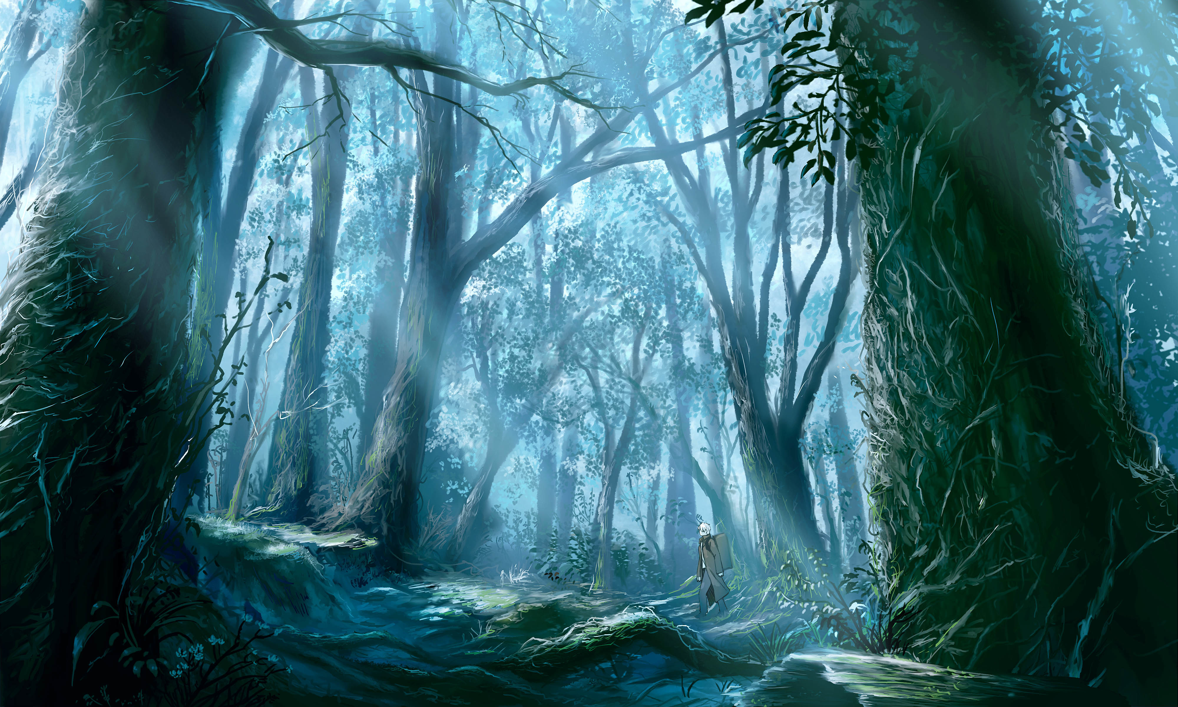 paintings forests Mushishi travel