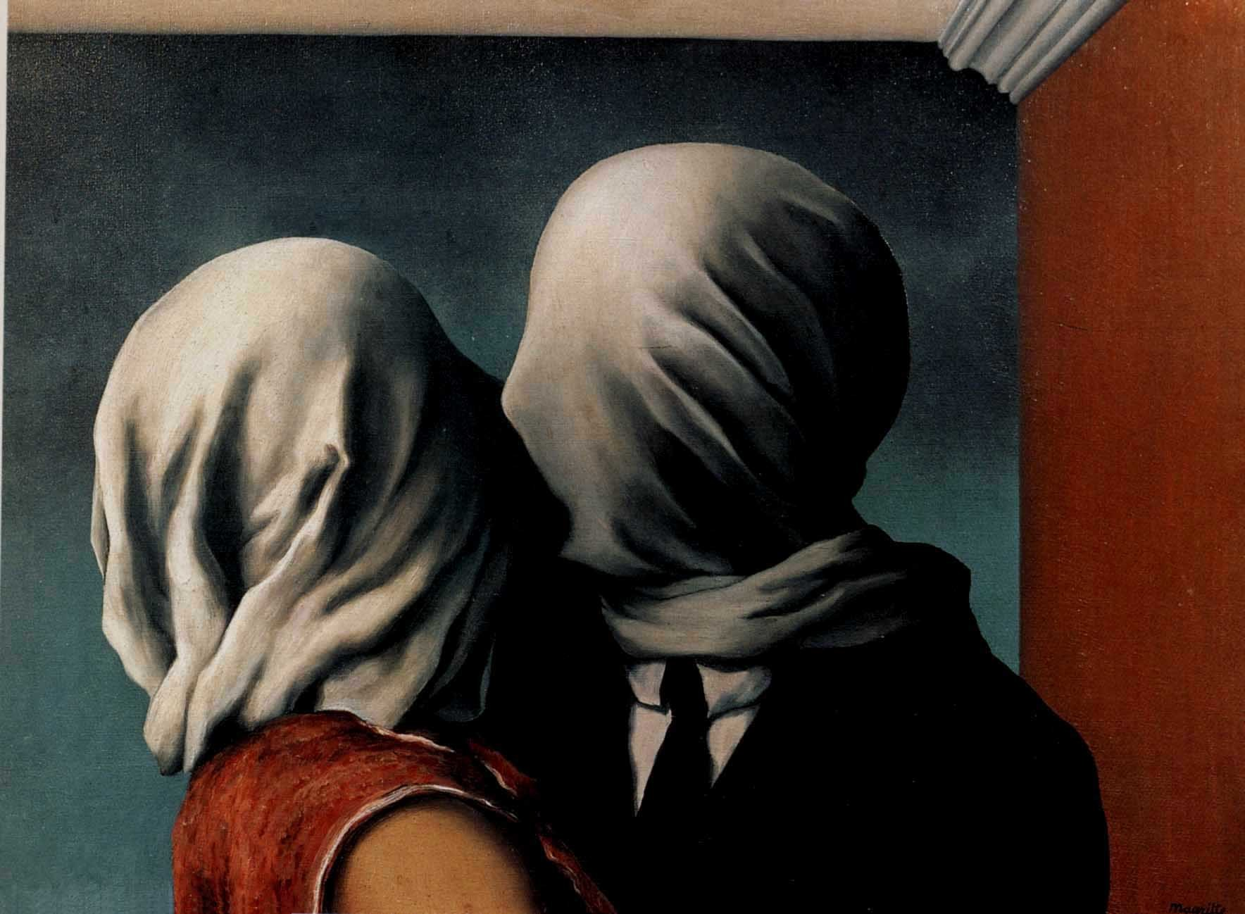 paintings kissing Rene Magritte HD Wallpaper