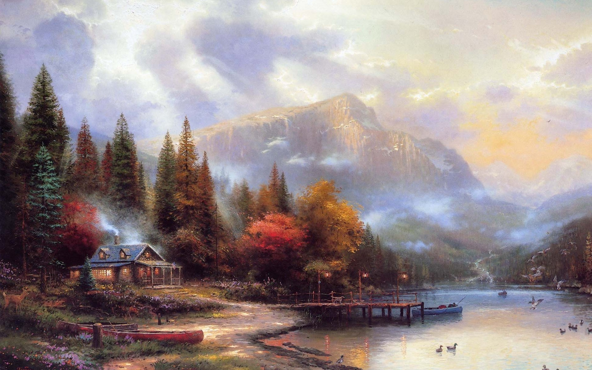 paintings Landscapes houses artwork HD Wallpaper
