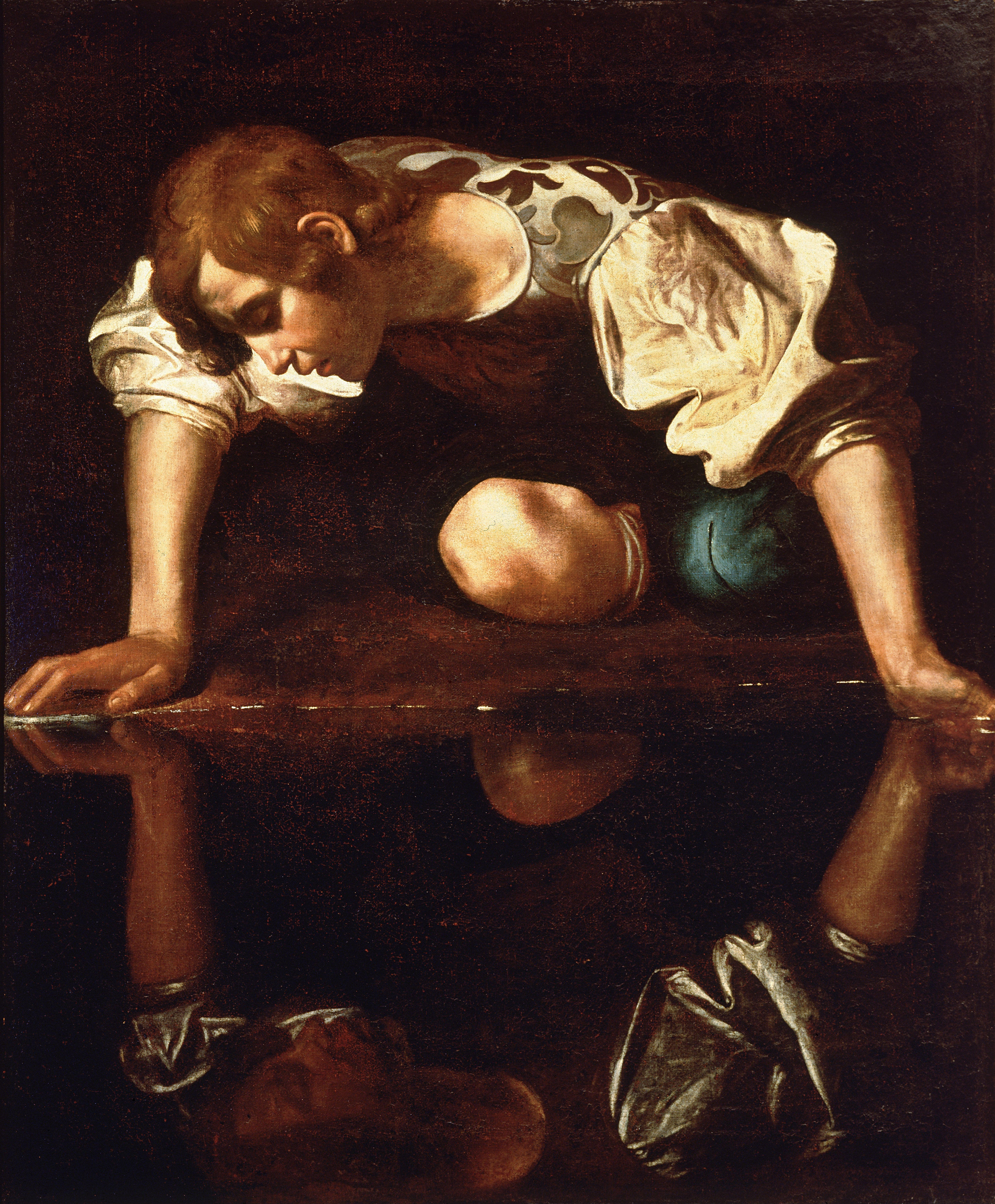 paintings Narcissus Caravaggio HD Wallpaper