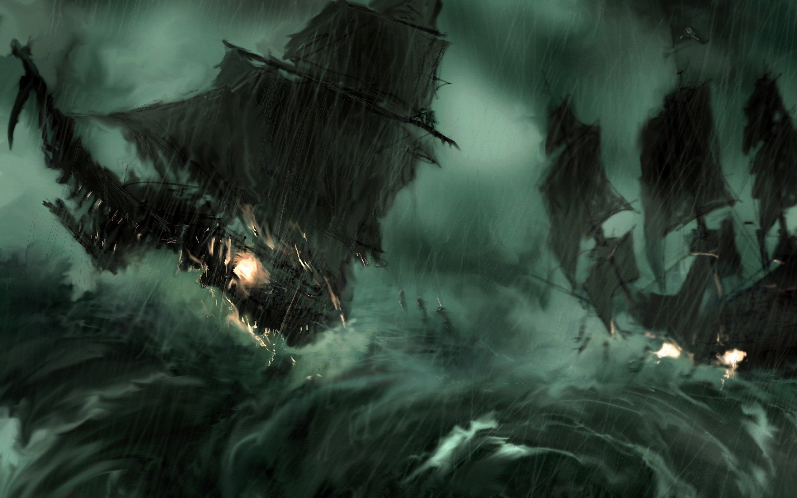 paintings rain pirate ship HD Wallpaper