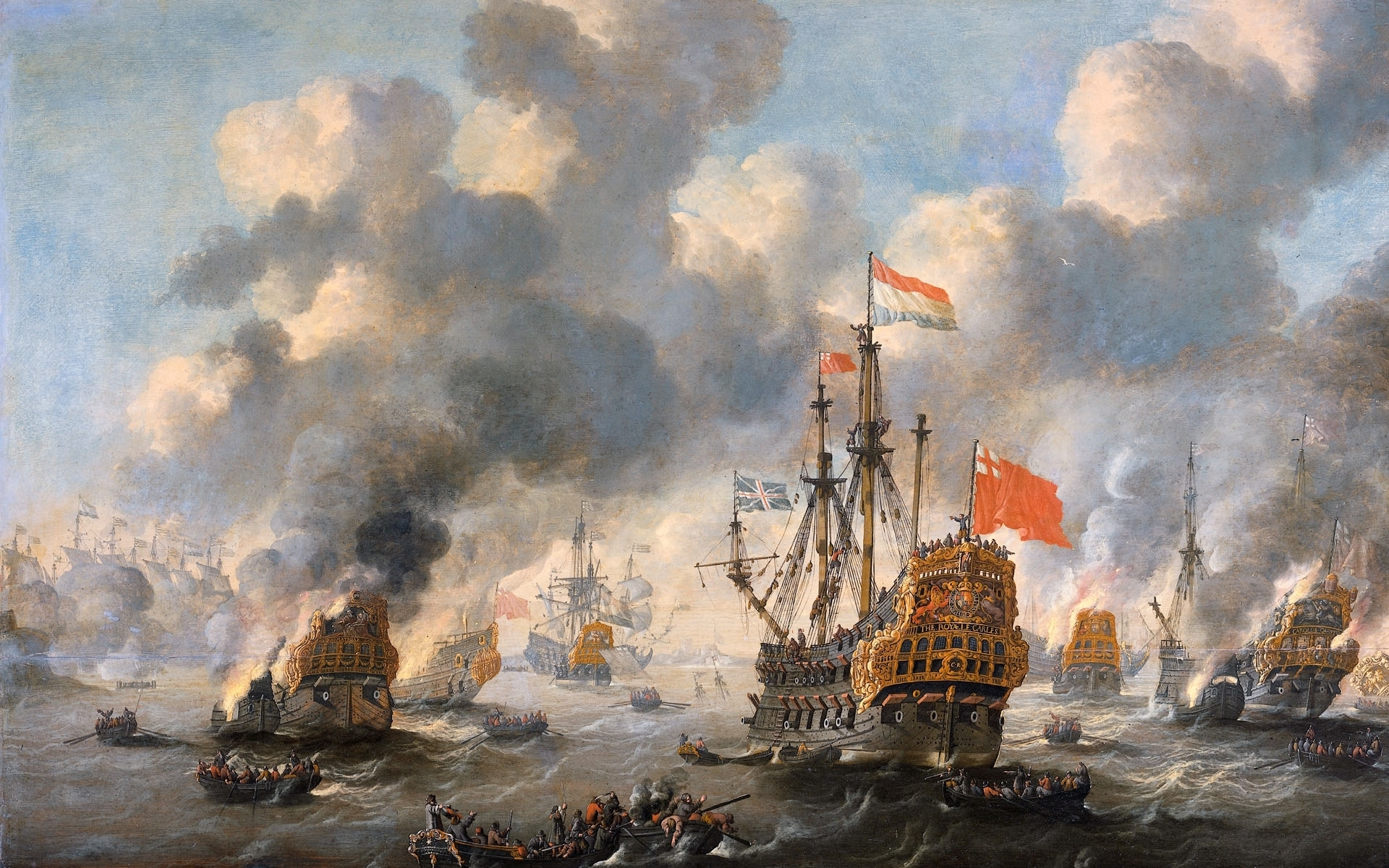 paintings ships battles artwork HD Wallpaper