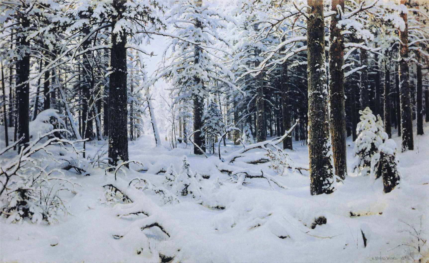 paintings snow Trees forests HD Wallpaper
