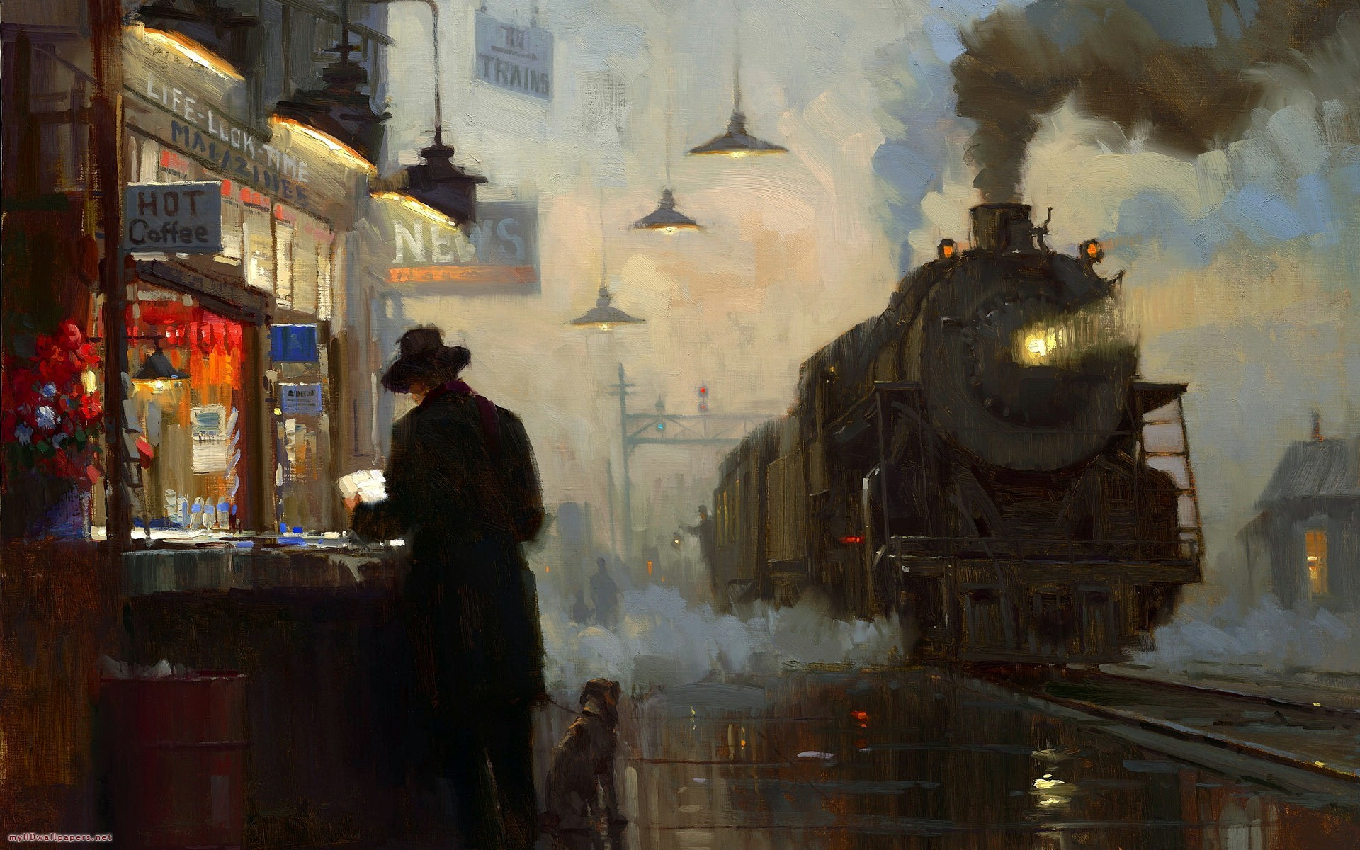 paintings trains train stations