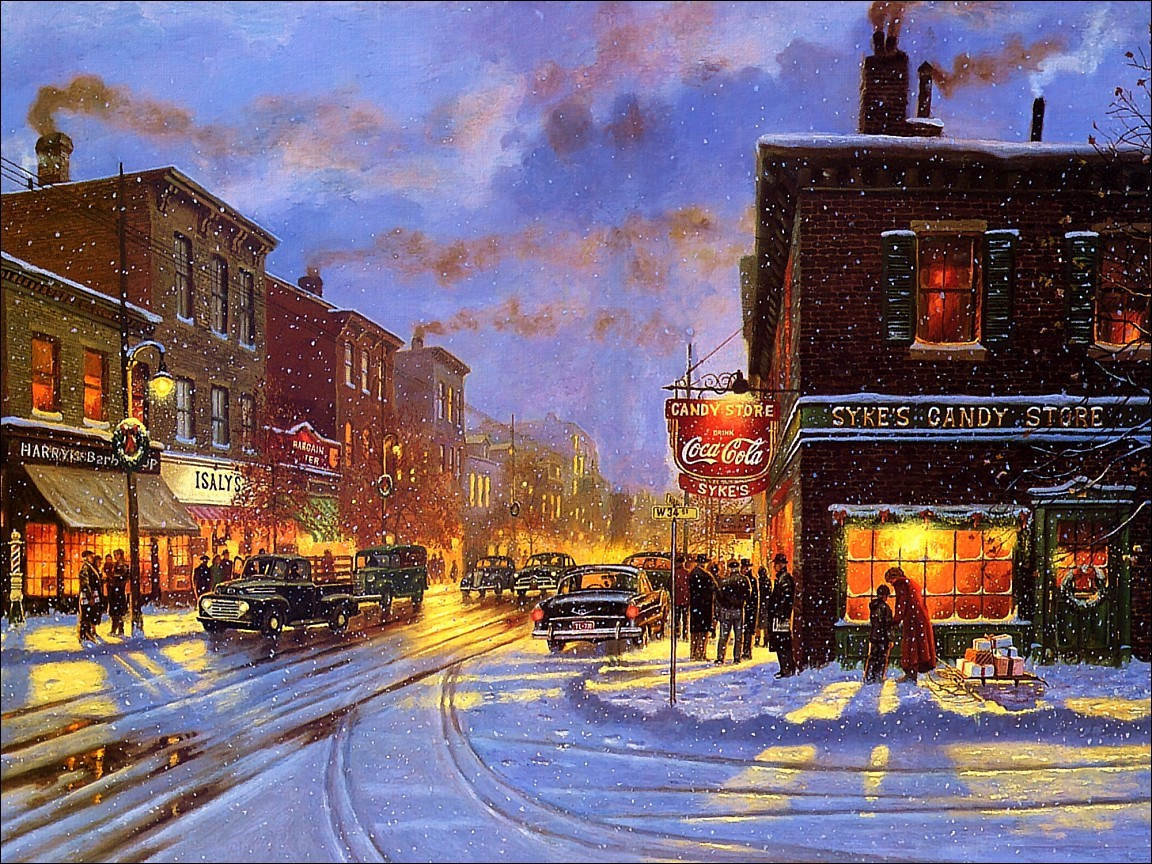 paintings winter cityscapes streets