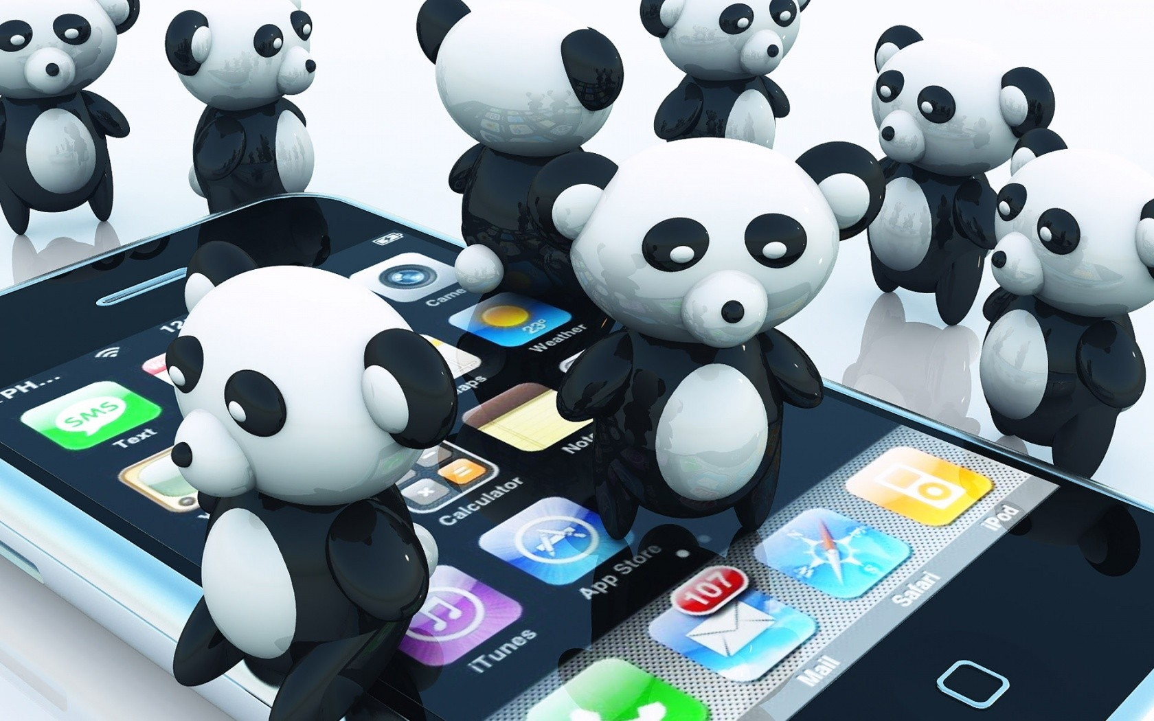 panda bears iphone HD Wallpaper
