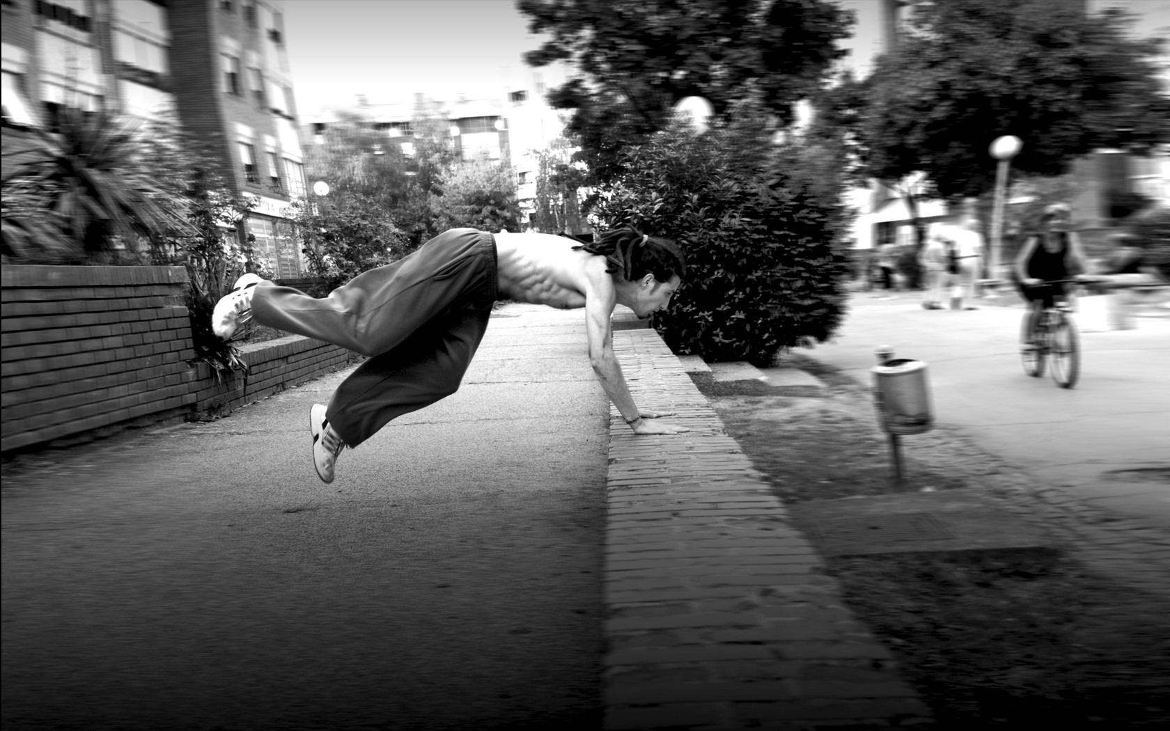 parkour monochrome flow Men HD Wallpaper
