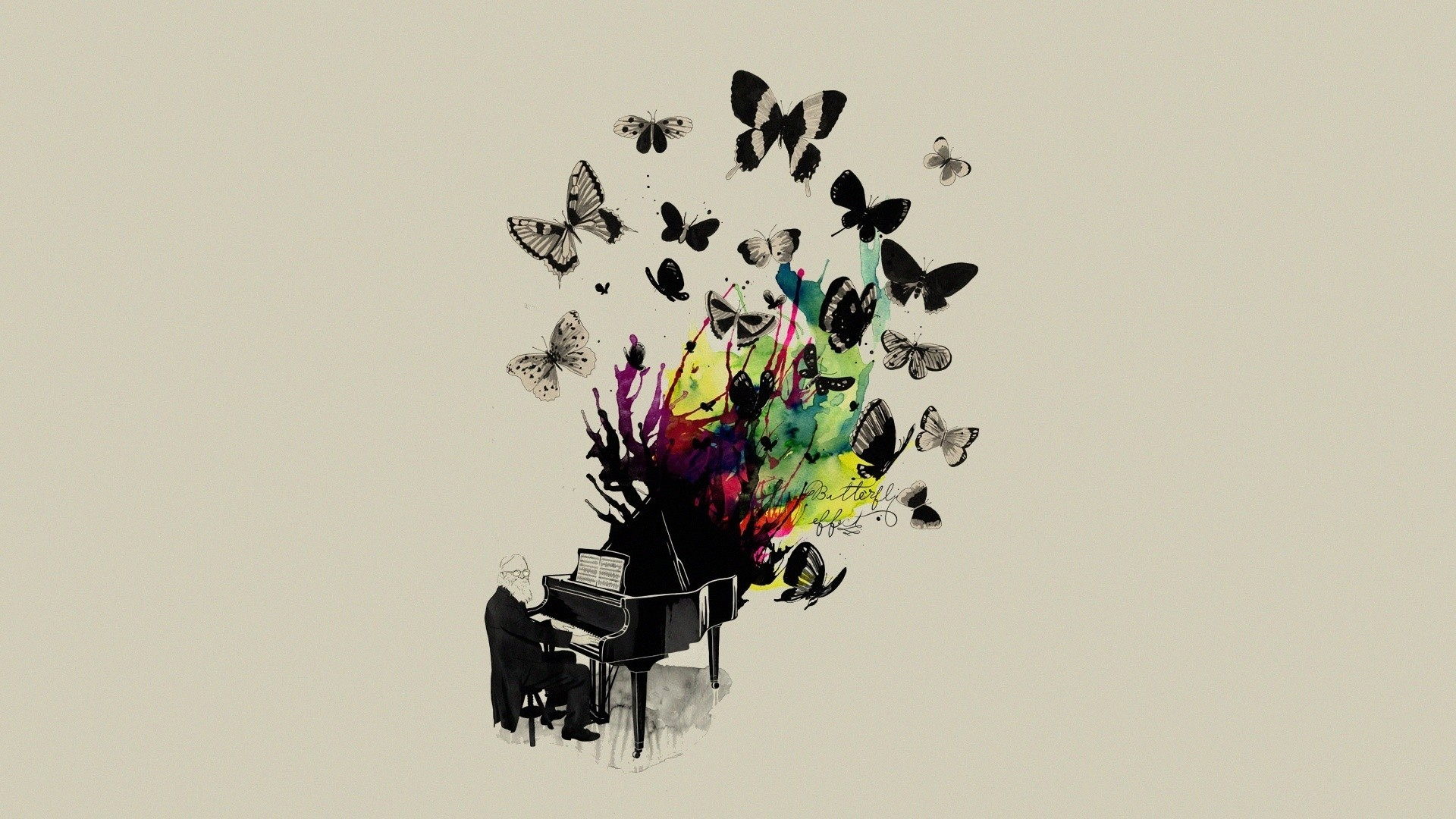 piano Butterflies HD Wallpaper