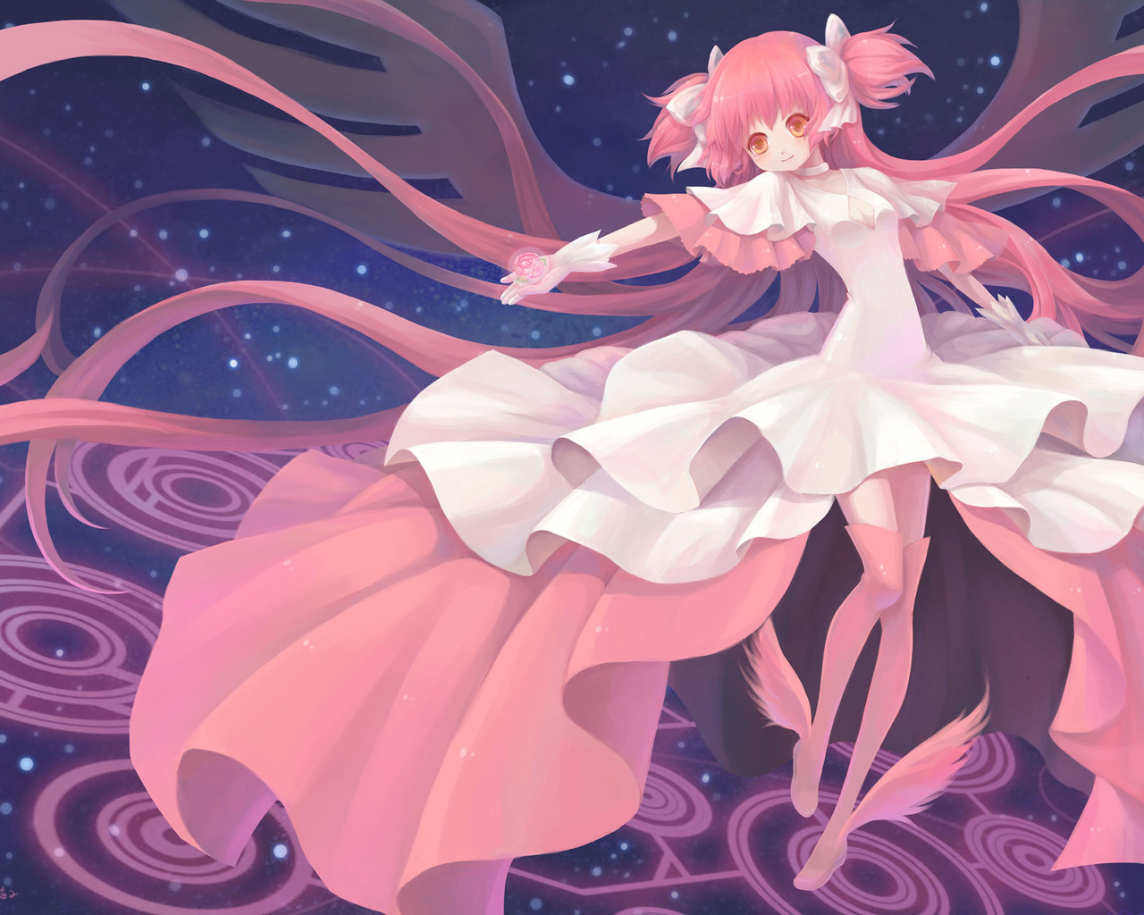 pink hair mahou shoujo HD Wallpaper