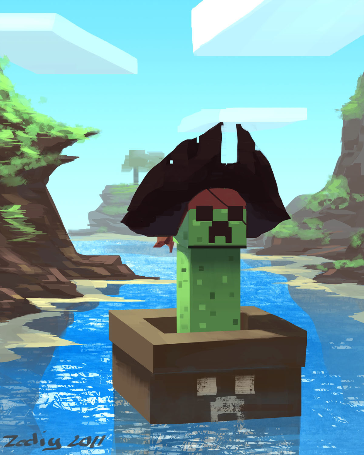 pirates creeper minecraft HD Wallpaper