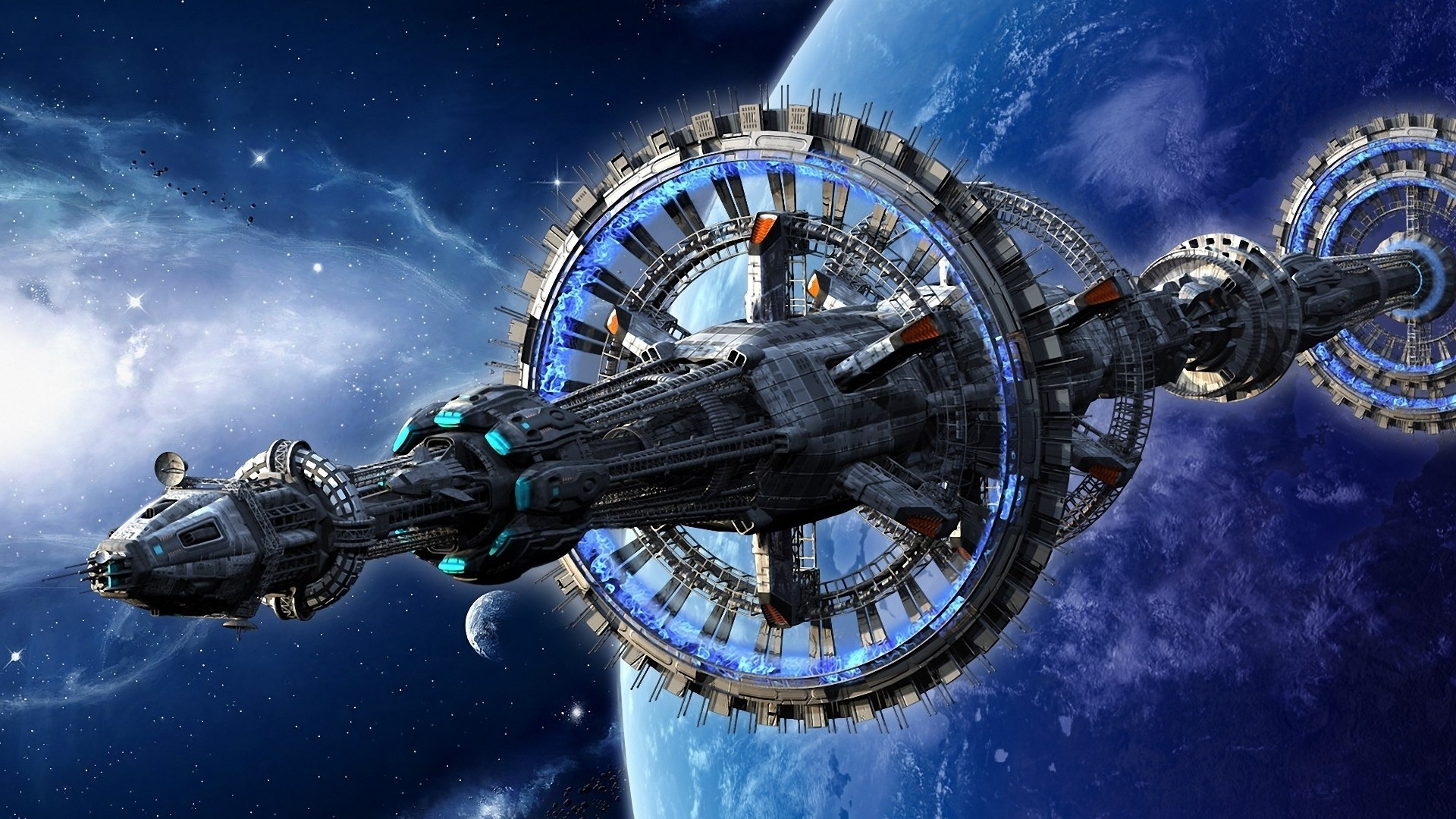 planets spaceships vehicles science fiction HD Wallpaper