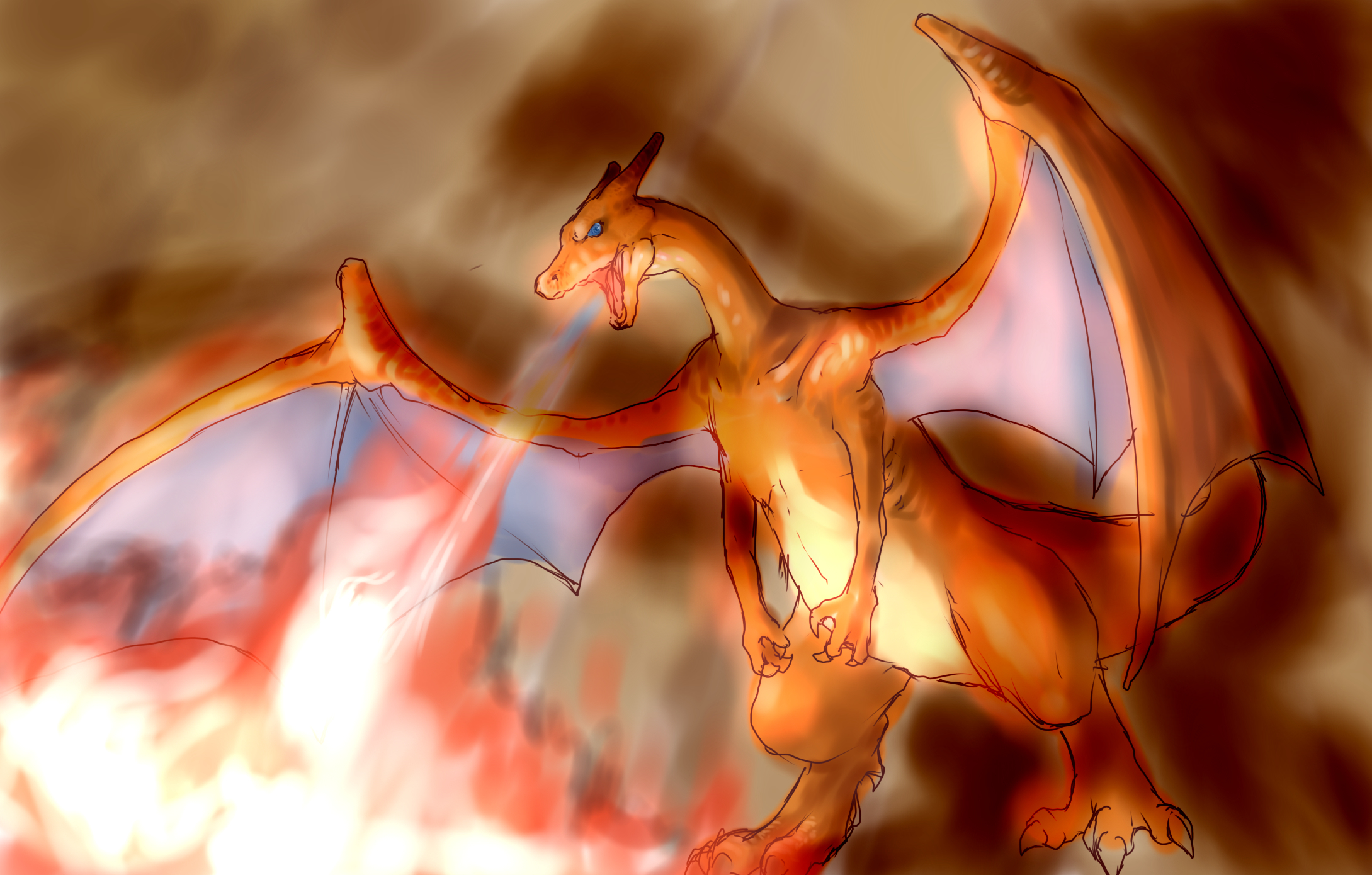 Pokemon charizard cartoon HD Wallpaper