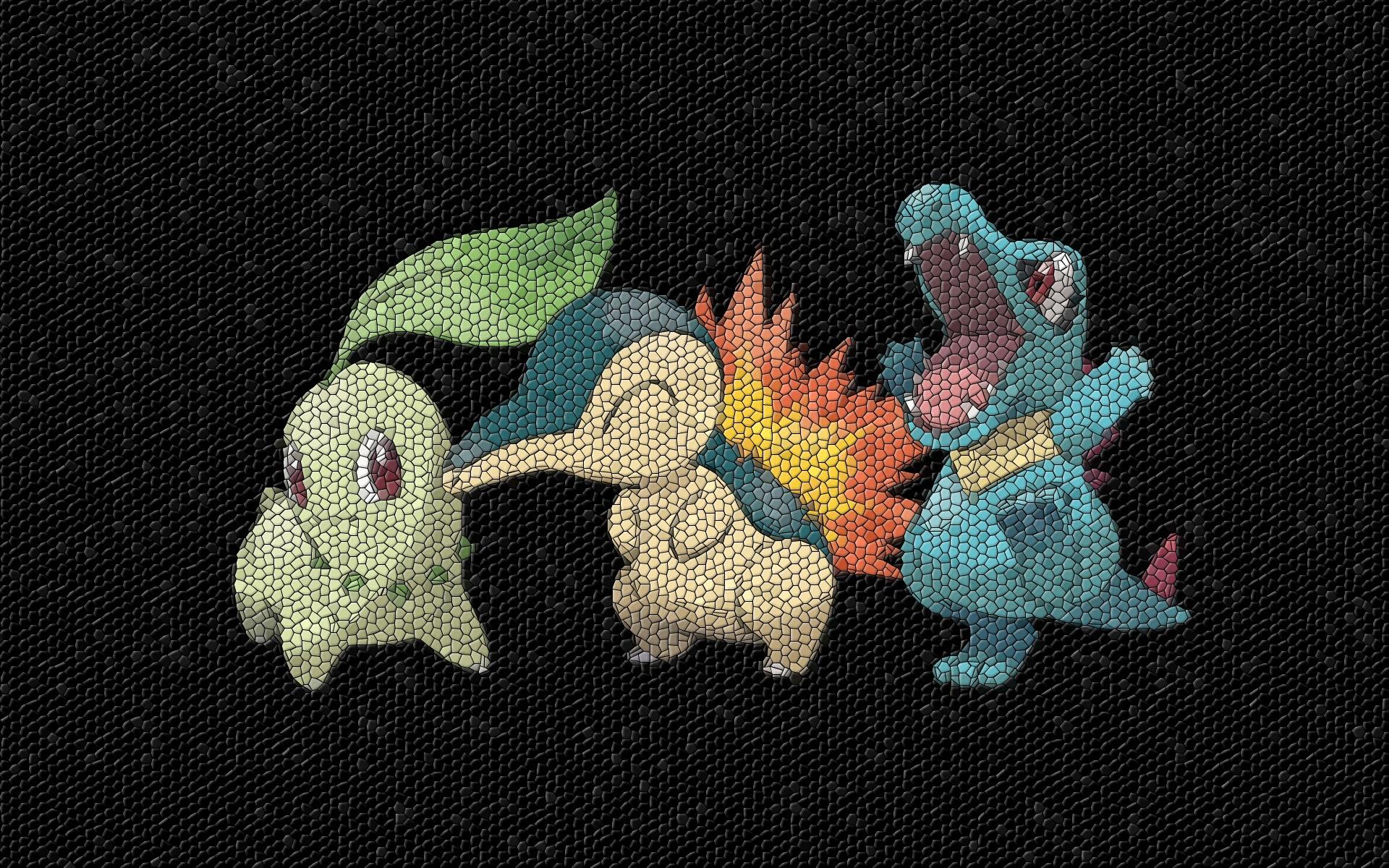 Pokemon Mosaic Totodile Cyndaquil HD Wallpaper