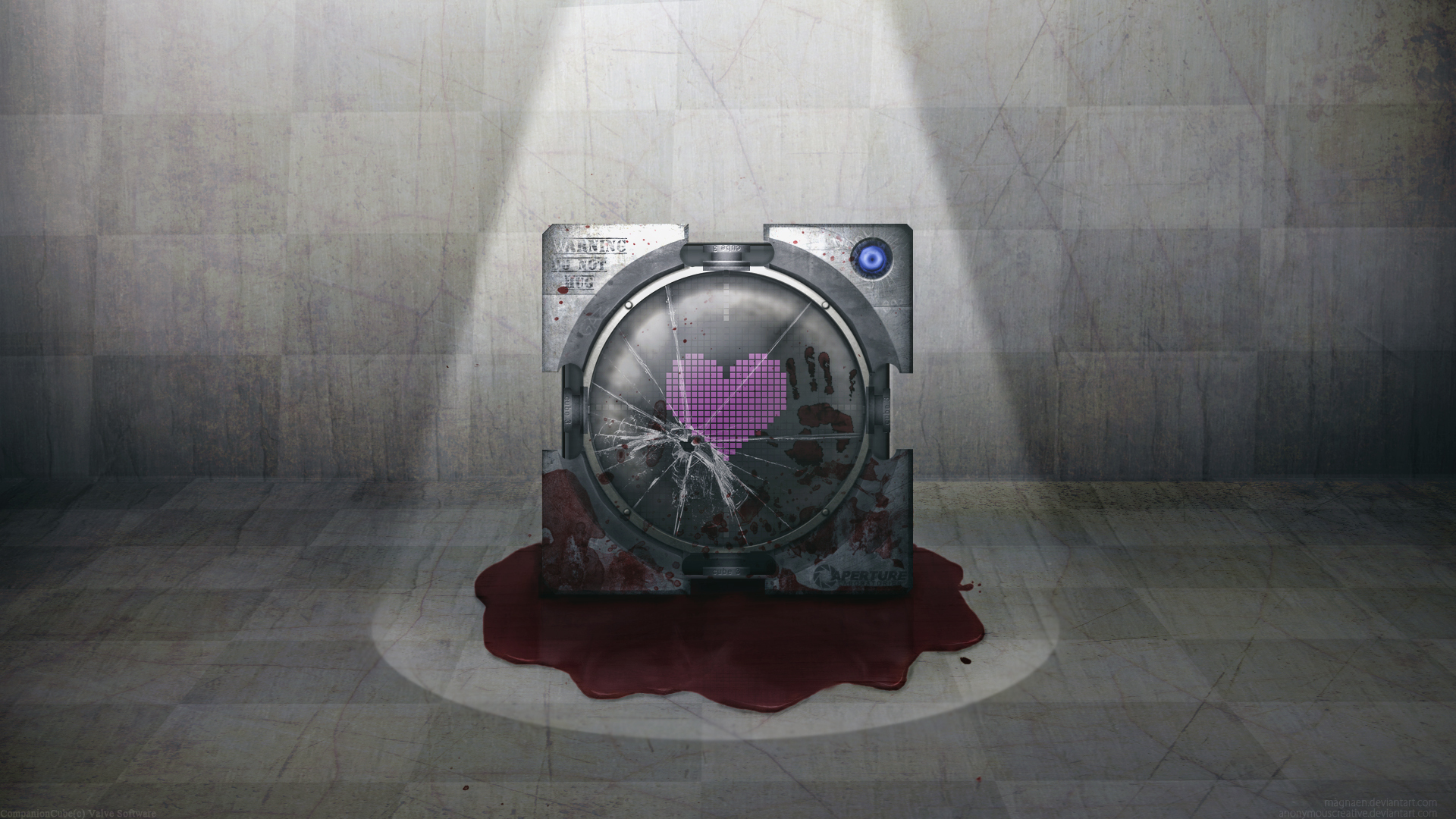 Portal blood Companion Cube HD Wallpaper