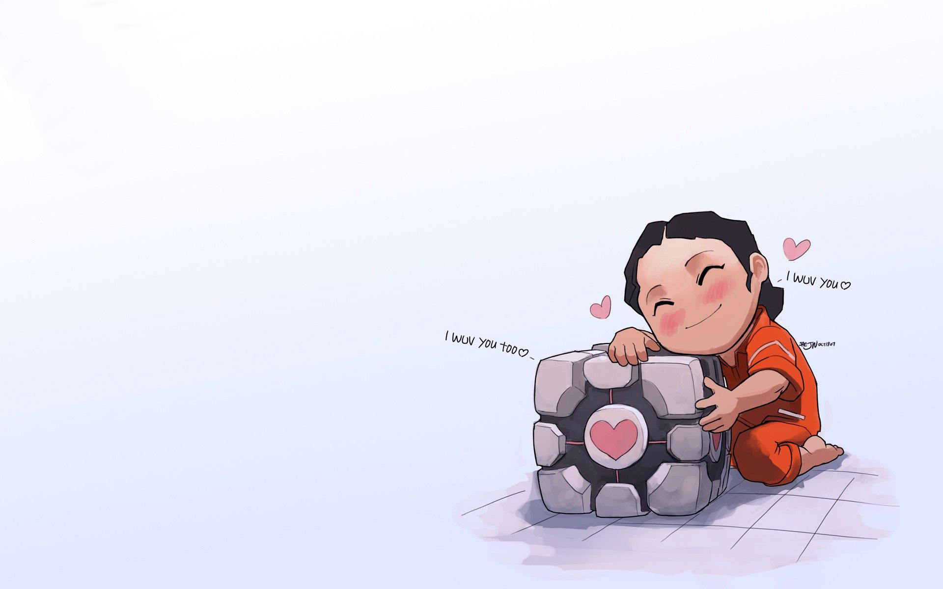 Portal Companion Cube Chell HD Wallpaper
