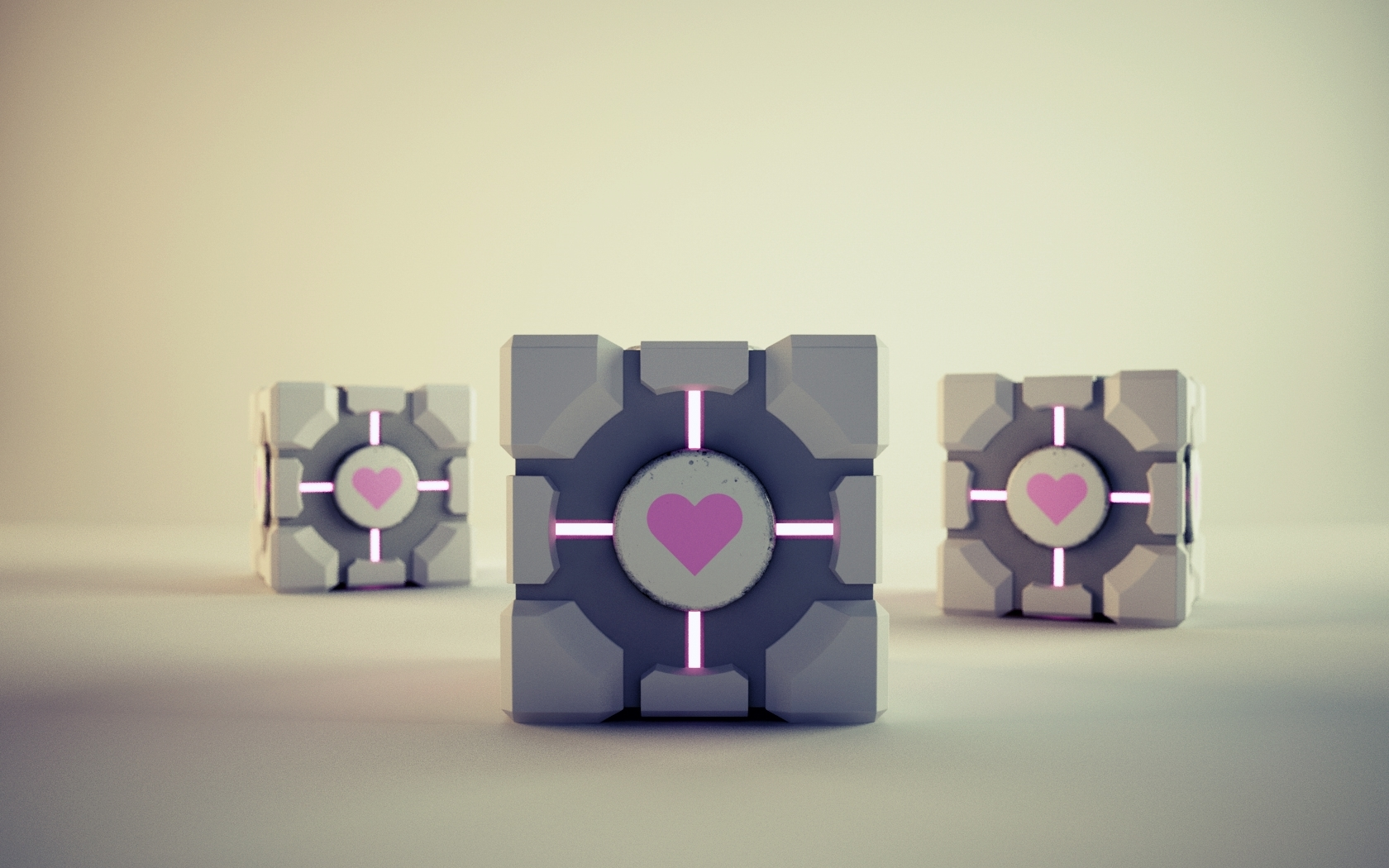 Portal Companion Cube Hearts HD Wallpaper