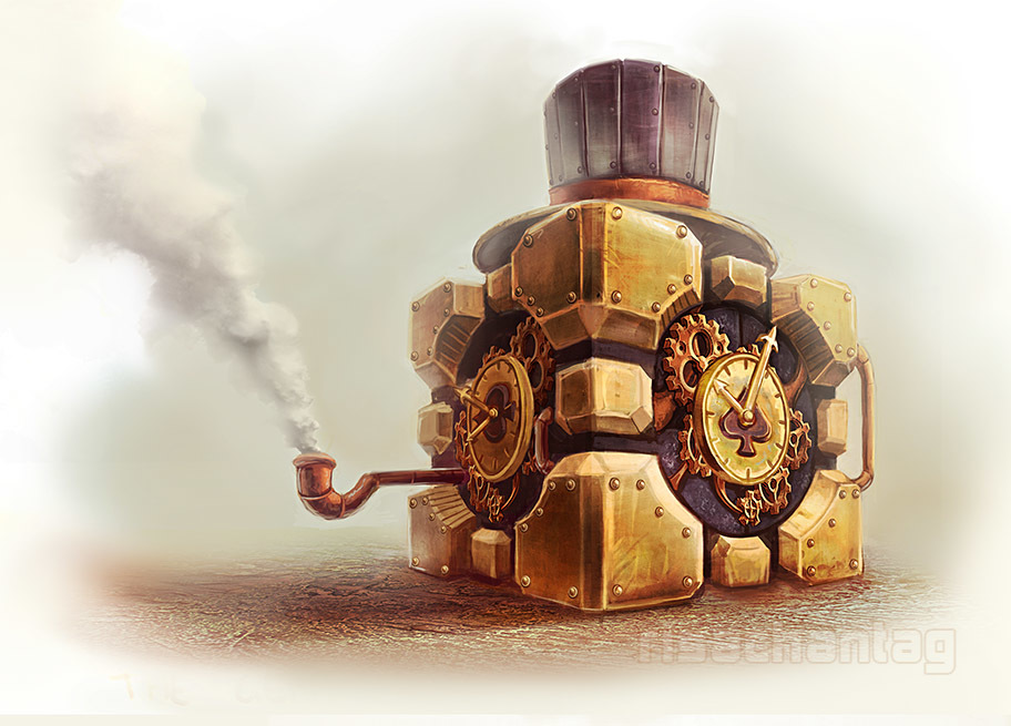 Portal steampunk Companion Cube HD Wallpaper