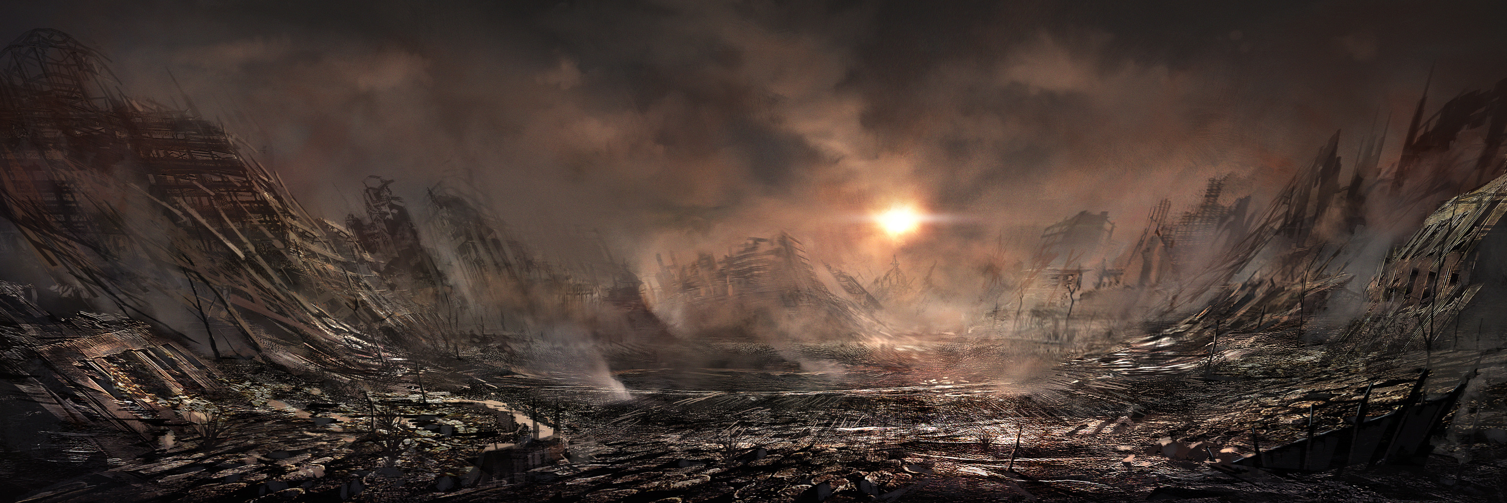 post-apocalyptic artwork HD Wallpaper