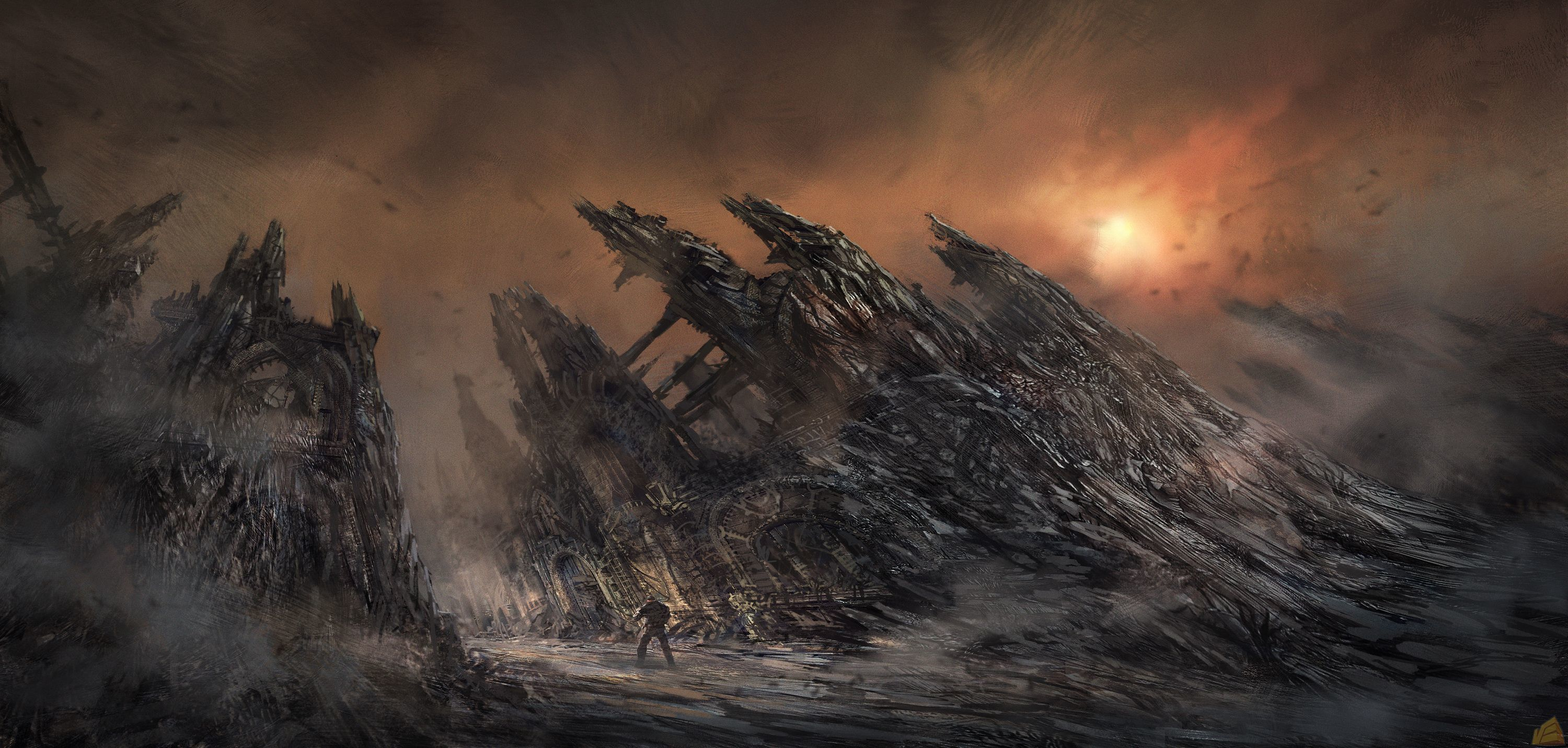 post-apocalyptic artwork post apocalyptic HD Wallpaper