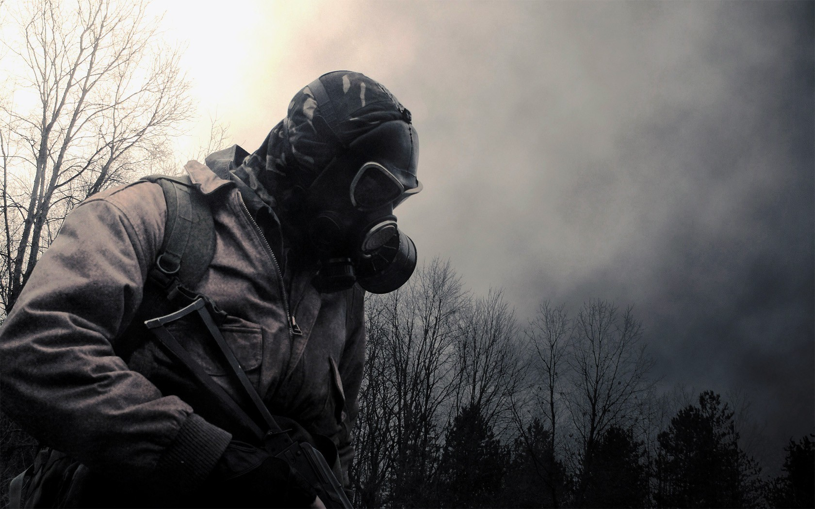 post-apocalyptic gas masks HD Wallpaper