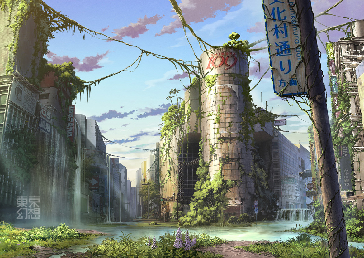 post-apocalyptic signs buildings crossing HD Wallpaper