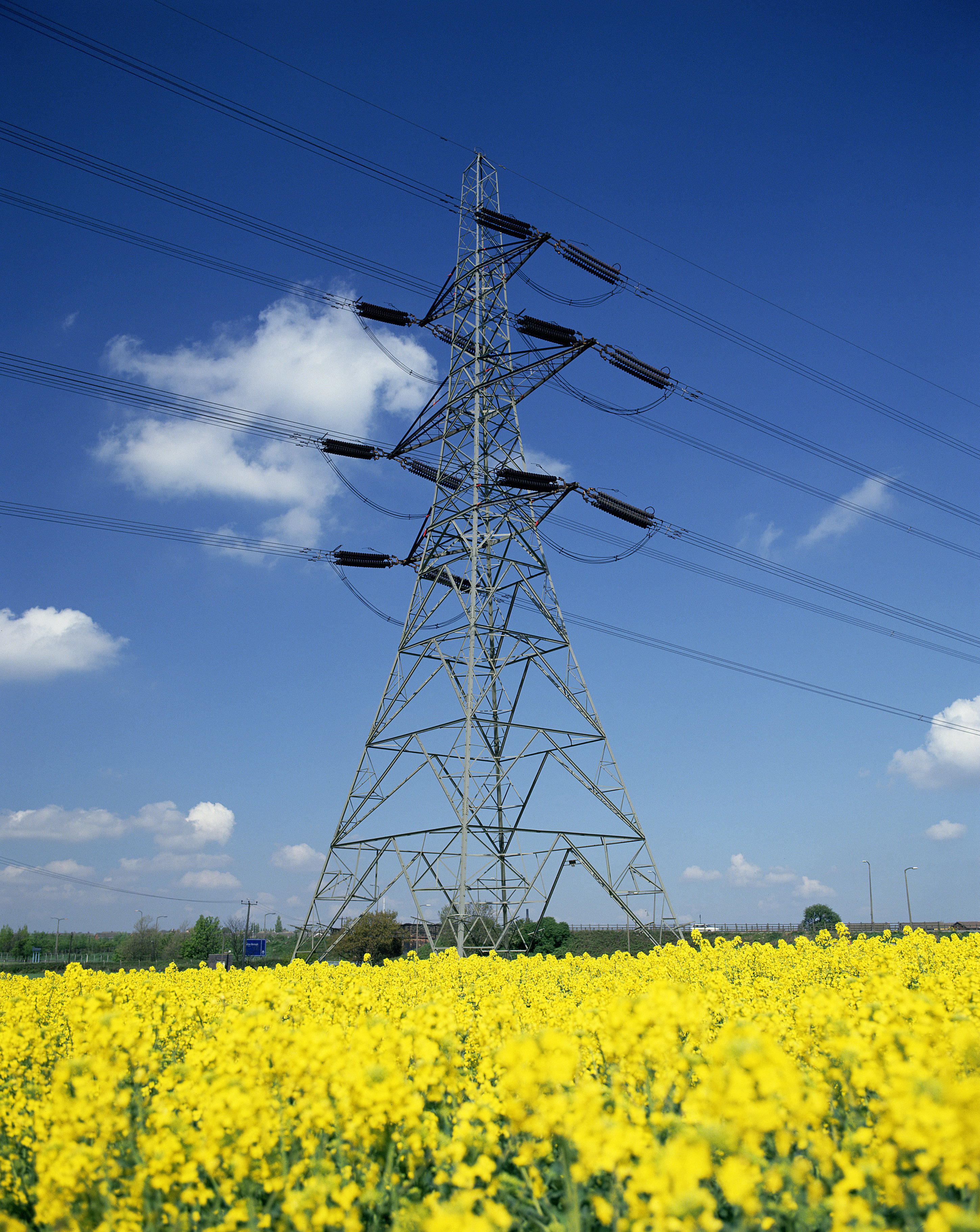 powerlines and tower in HD Wallpaper
