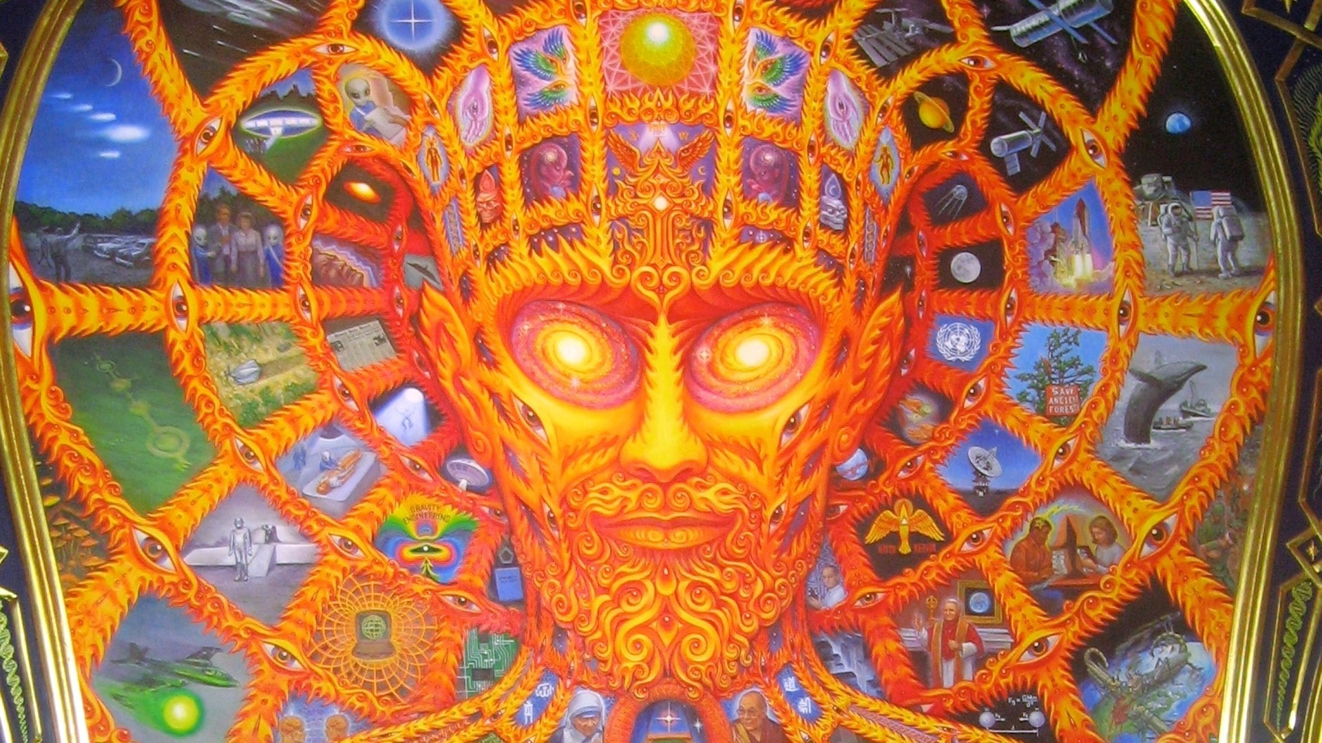 psychedelic Alex Grey mirror HD Wallpaper