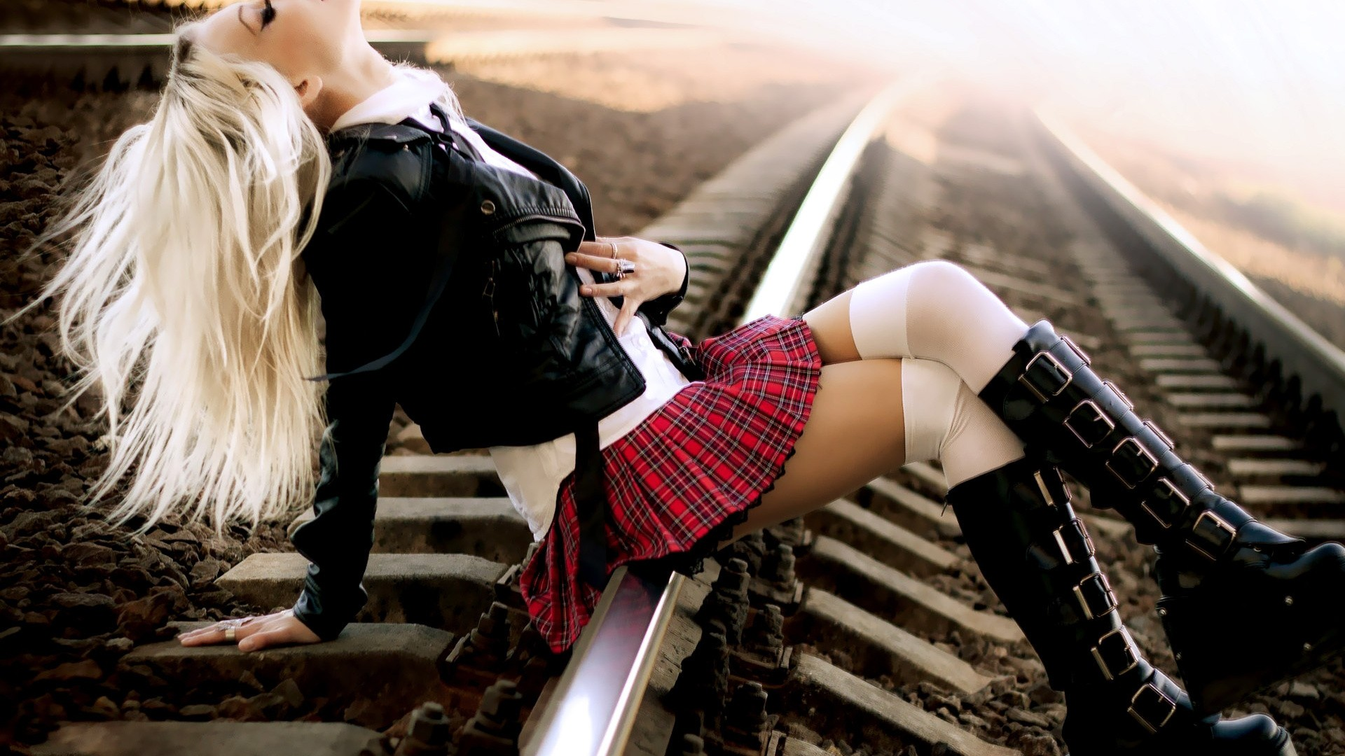 railroad tracks lingerie skirts HD Wallpaper