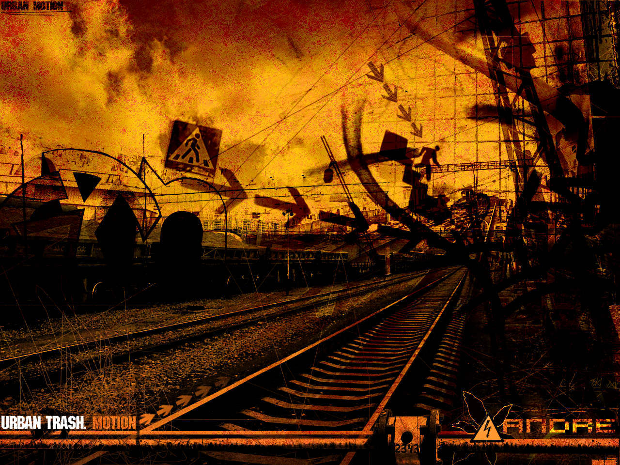 railroad tracks urban trash HD Wallpaper