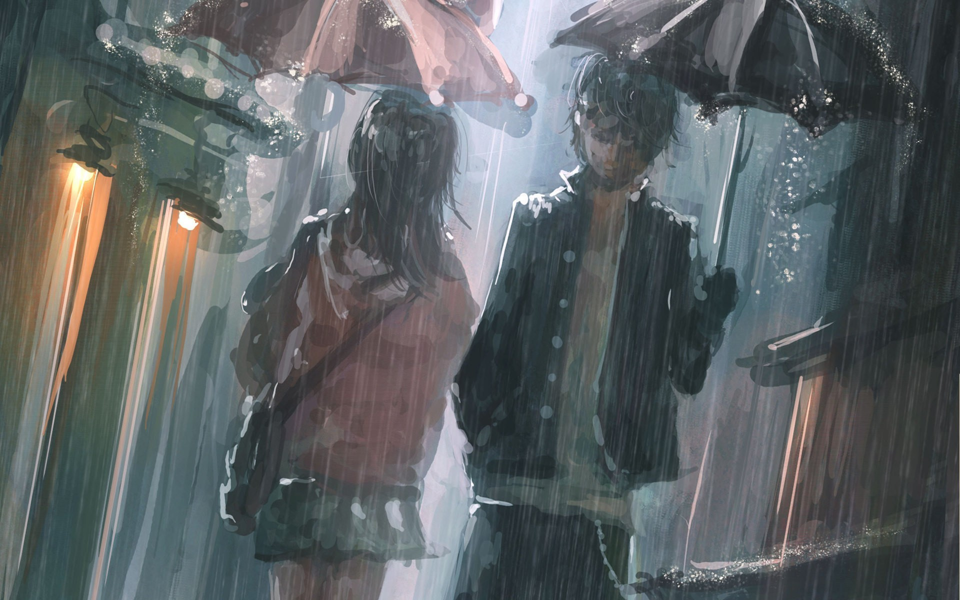 rain artwork Umbrellas HD Wallpaper