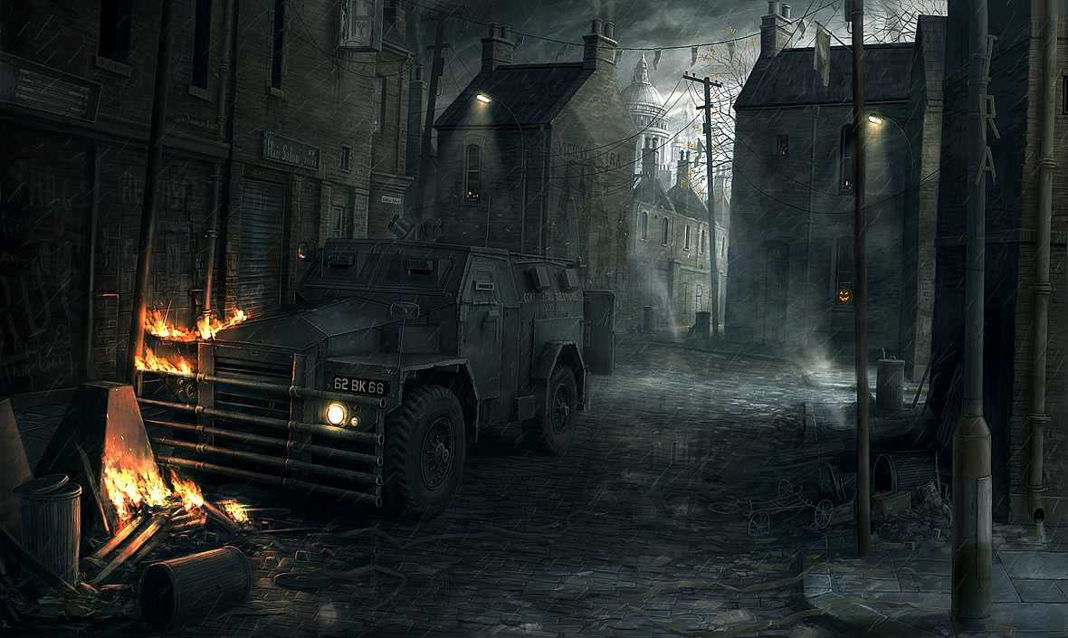rain cars fire Halloween HD Wallpaper