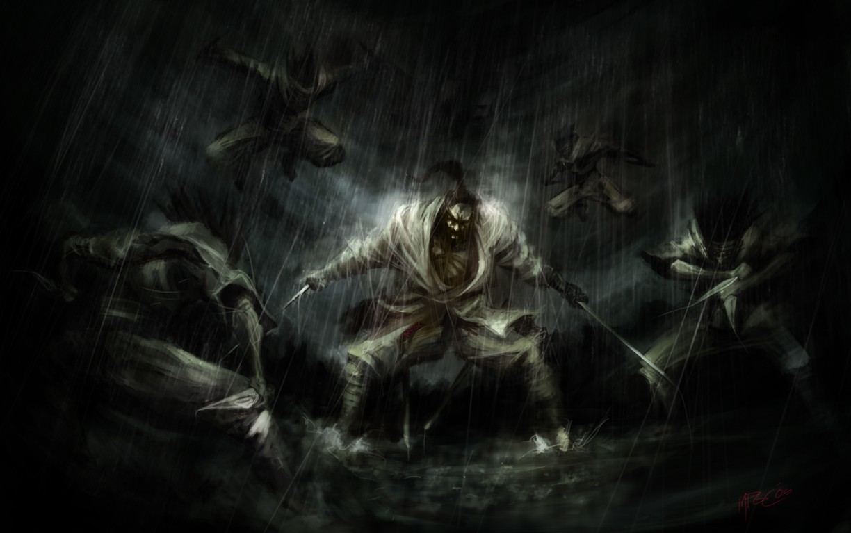 rain ninjas samurai weapons HD Wallpaper