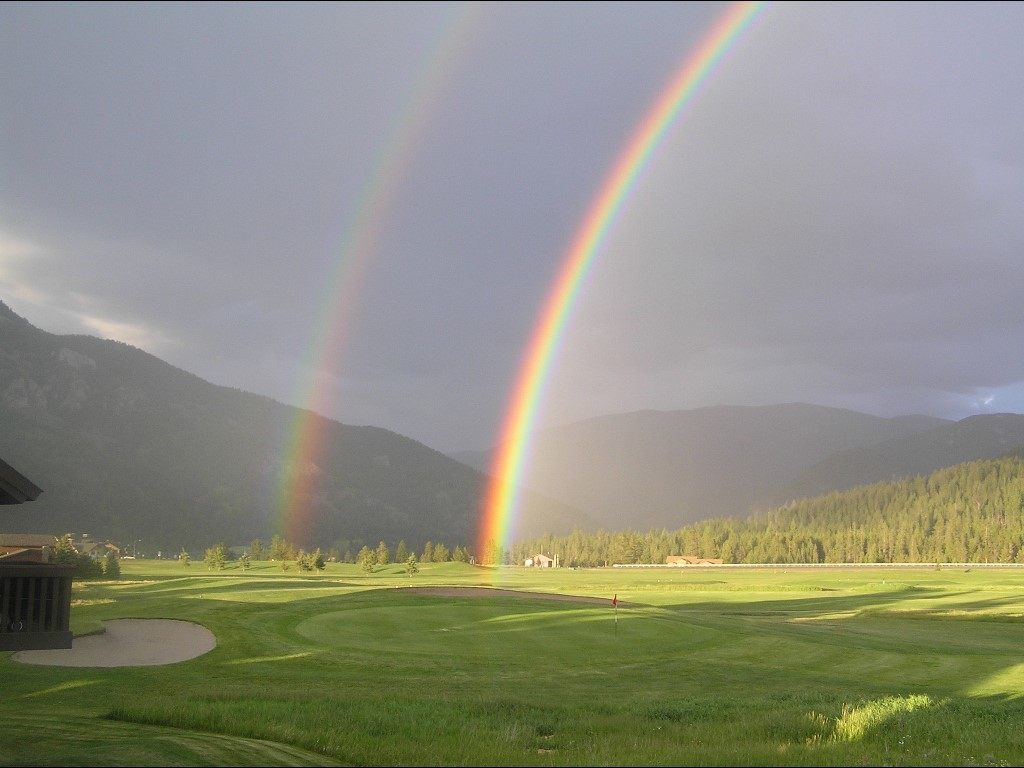 rainbows double rainbow golf HD Wallpaper