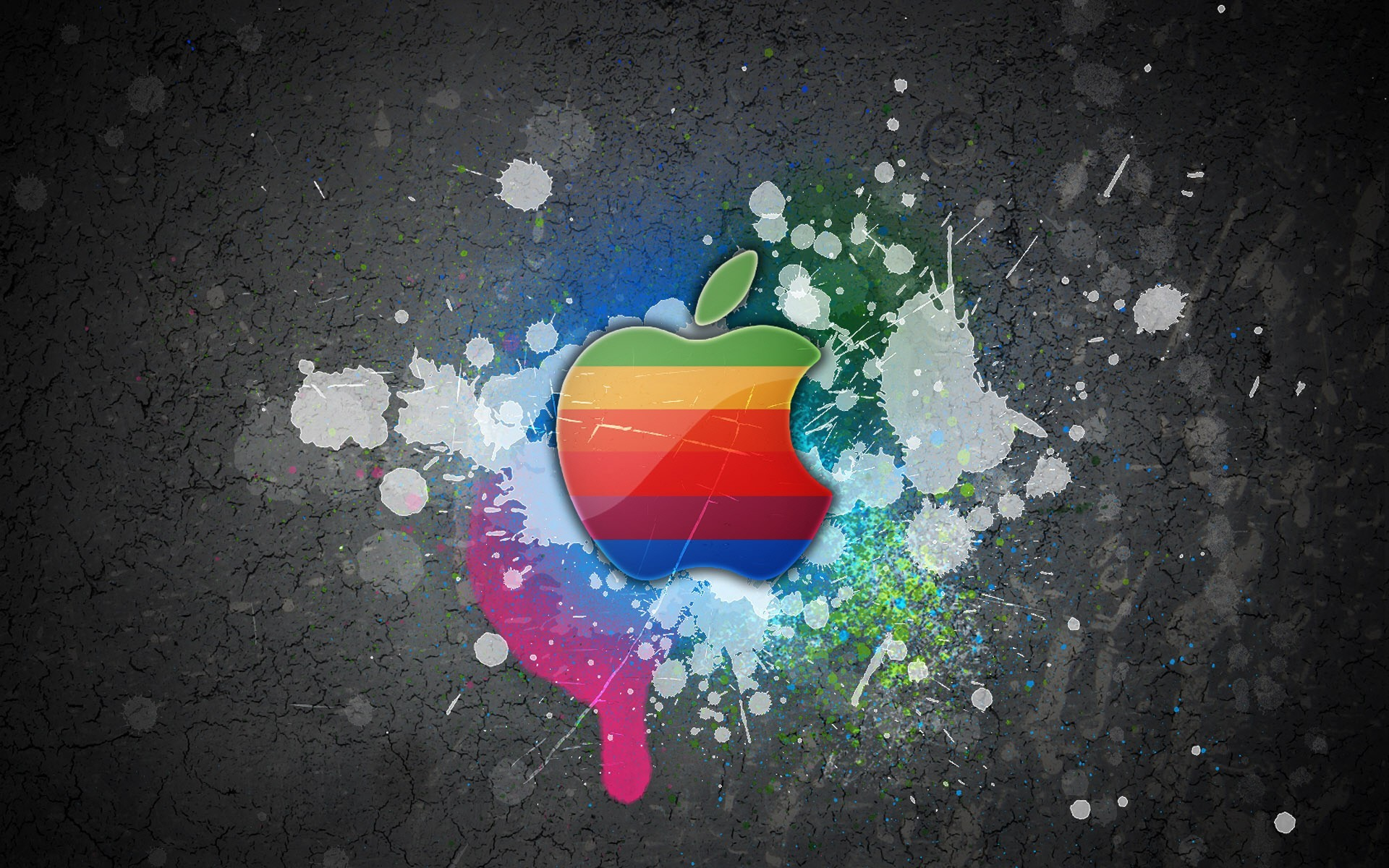 rainbows logos apple inc paint splatter HD Wallpaper