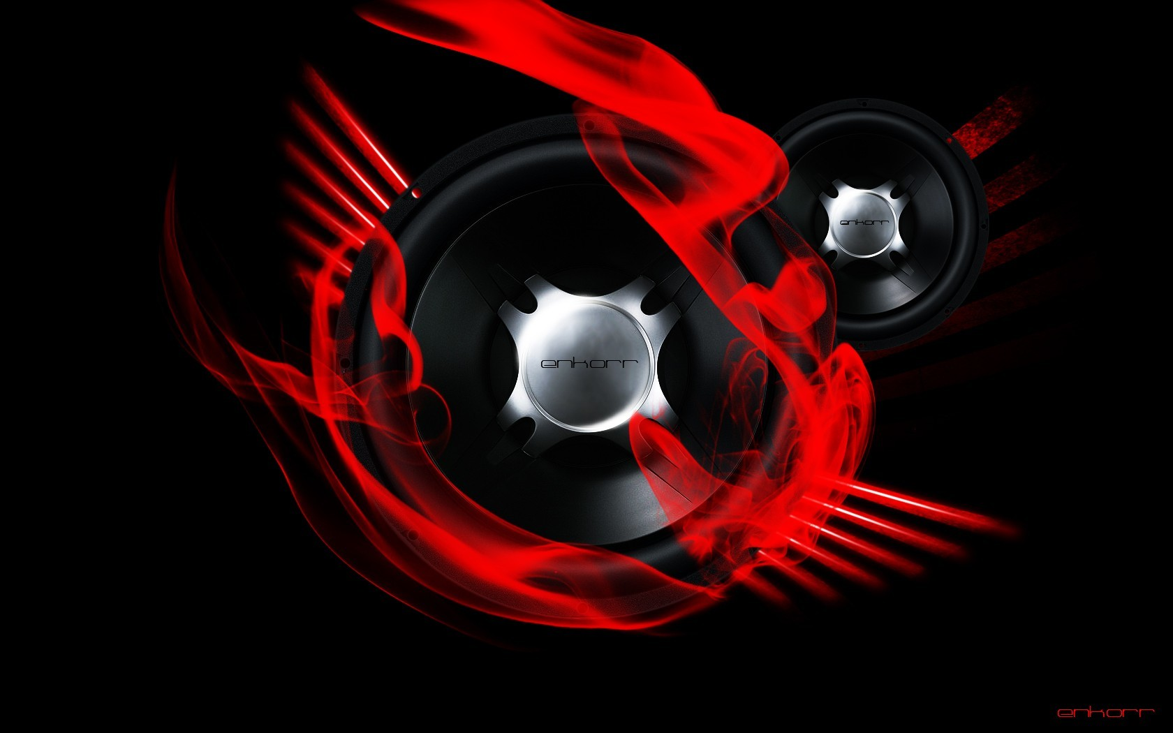 red bass speakers digital HD Wallpaper