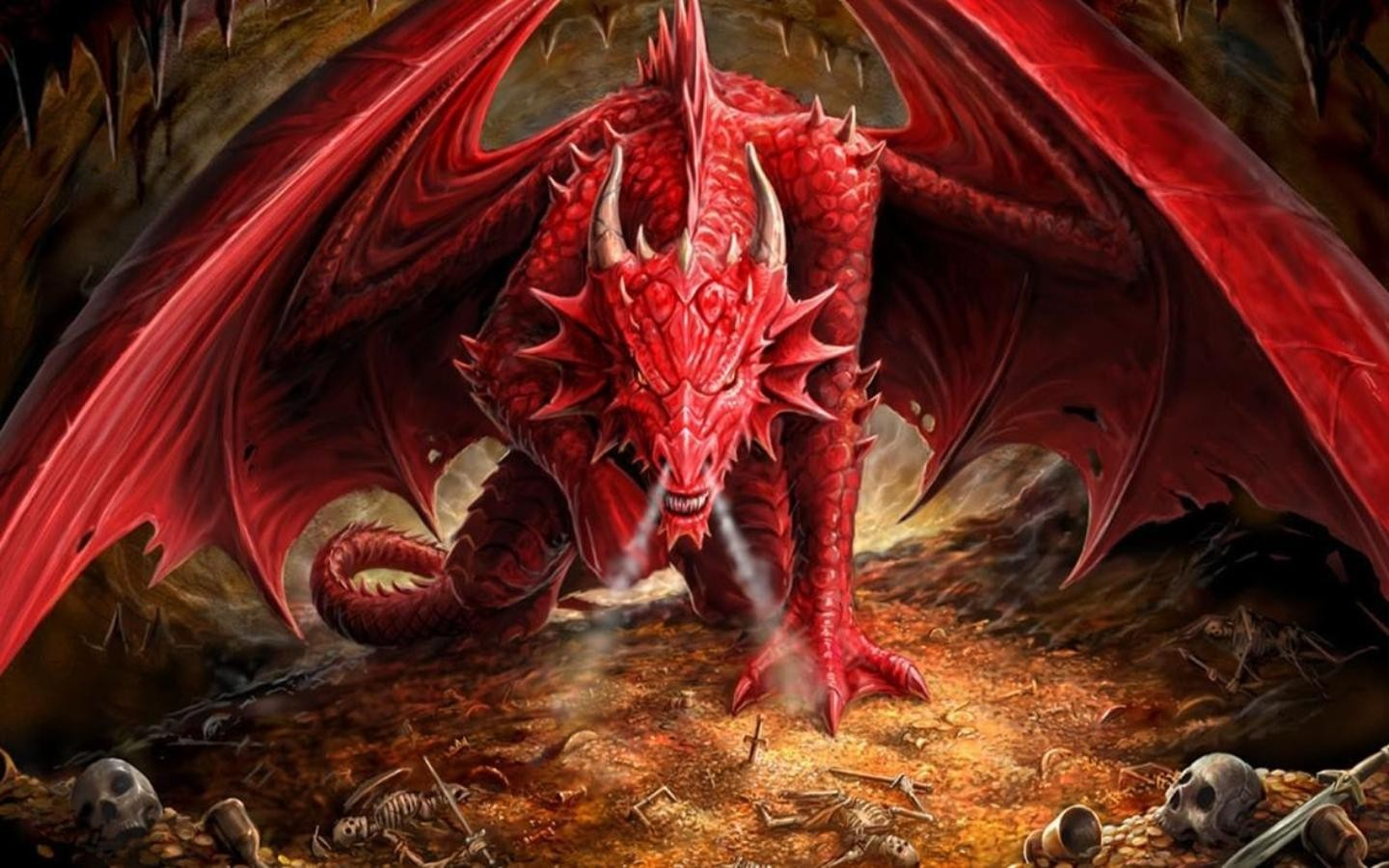red Dragons horns gold HD Wallpaper