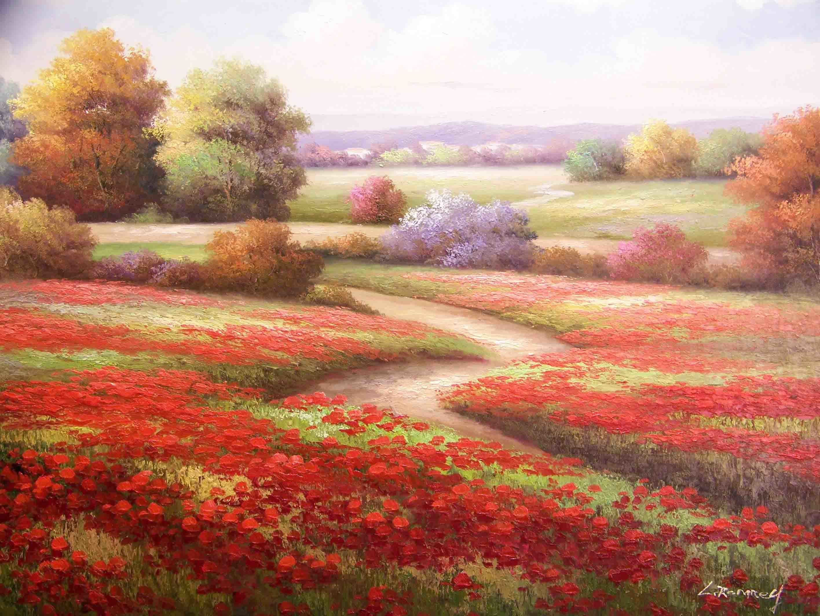 red Flowers fields paths HD Wallpaper