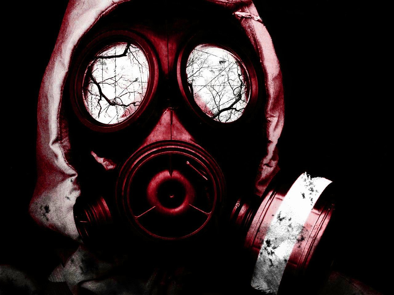 red gas masks masks HD Wallpaper