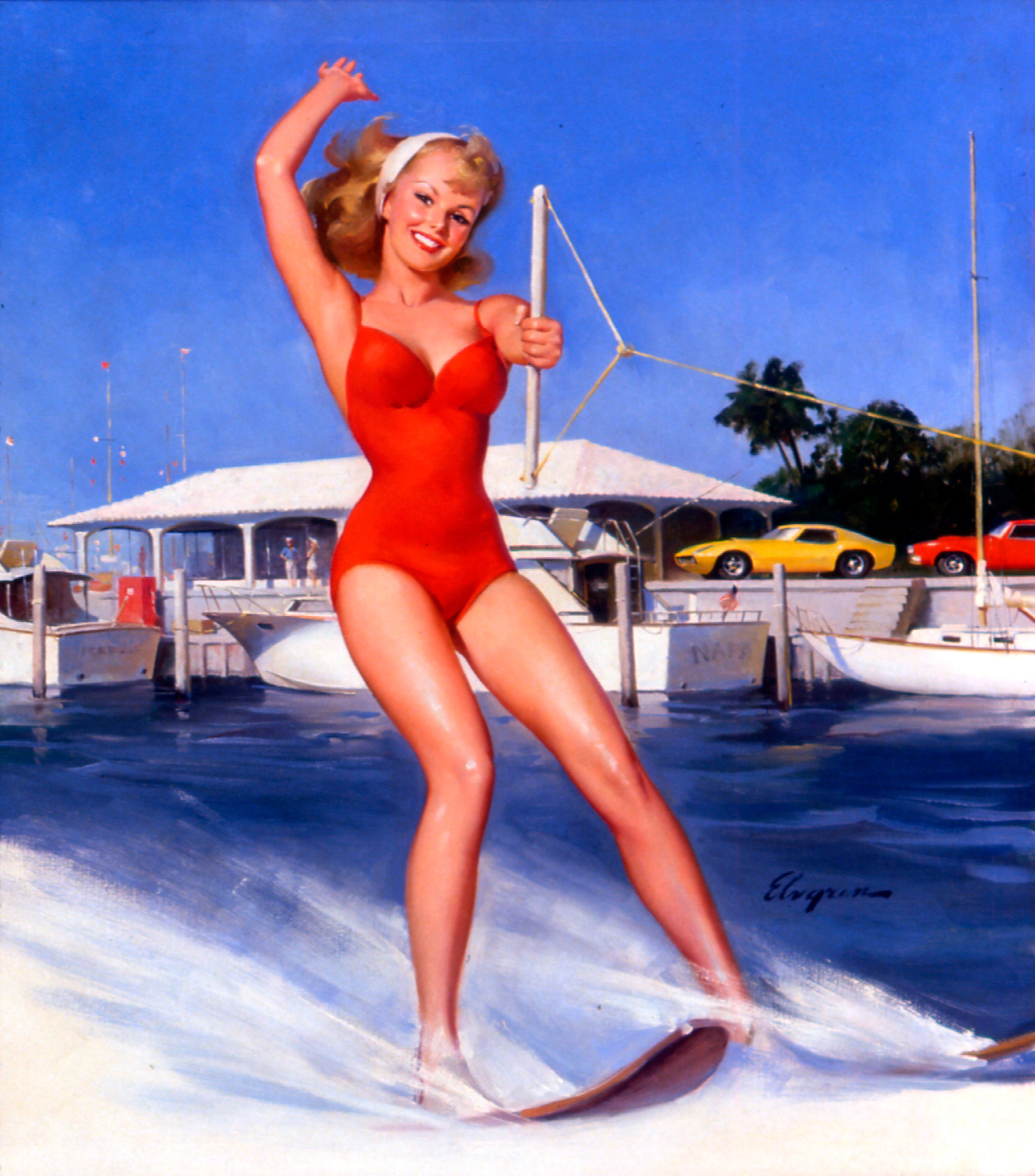 red pinups swimsuits water HD Wallpaper