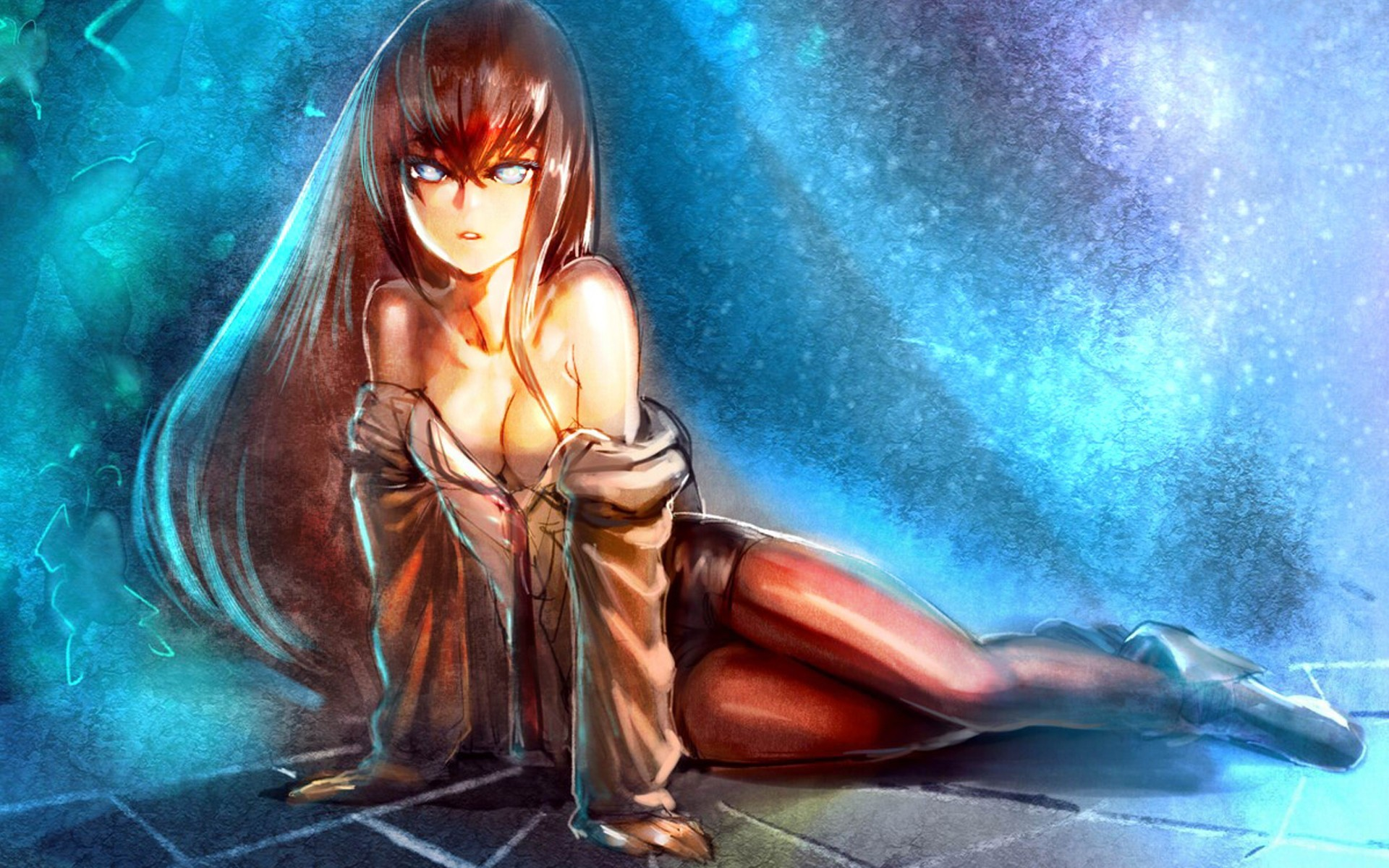redheads cleavage artwork Anime HD Wallpaper