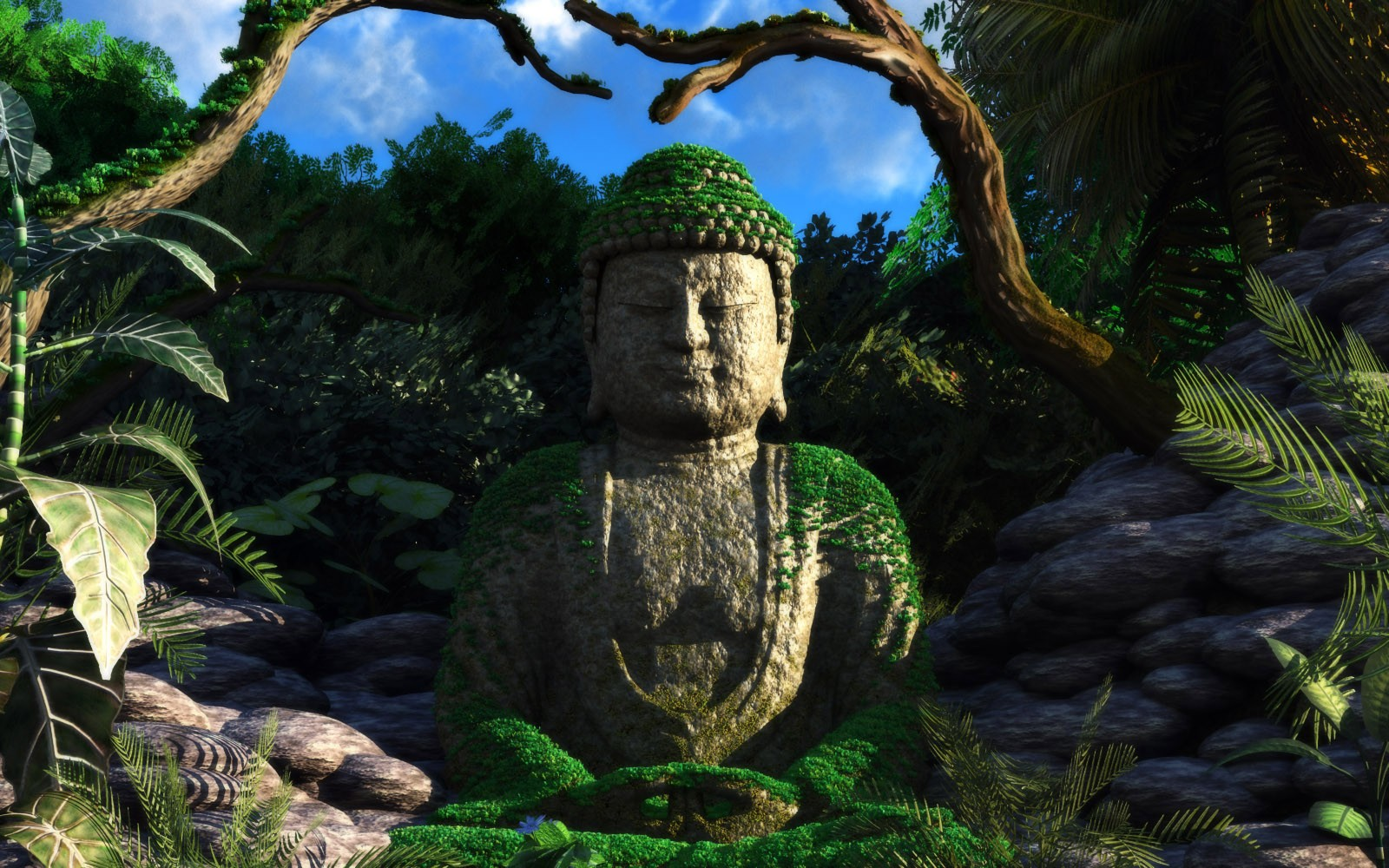 renders 3d Mountains Buddha HD Wallpaper