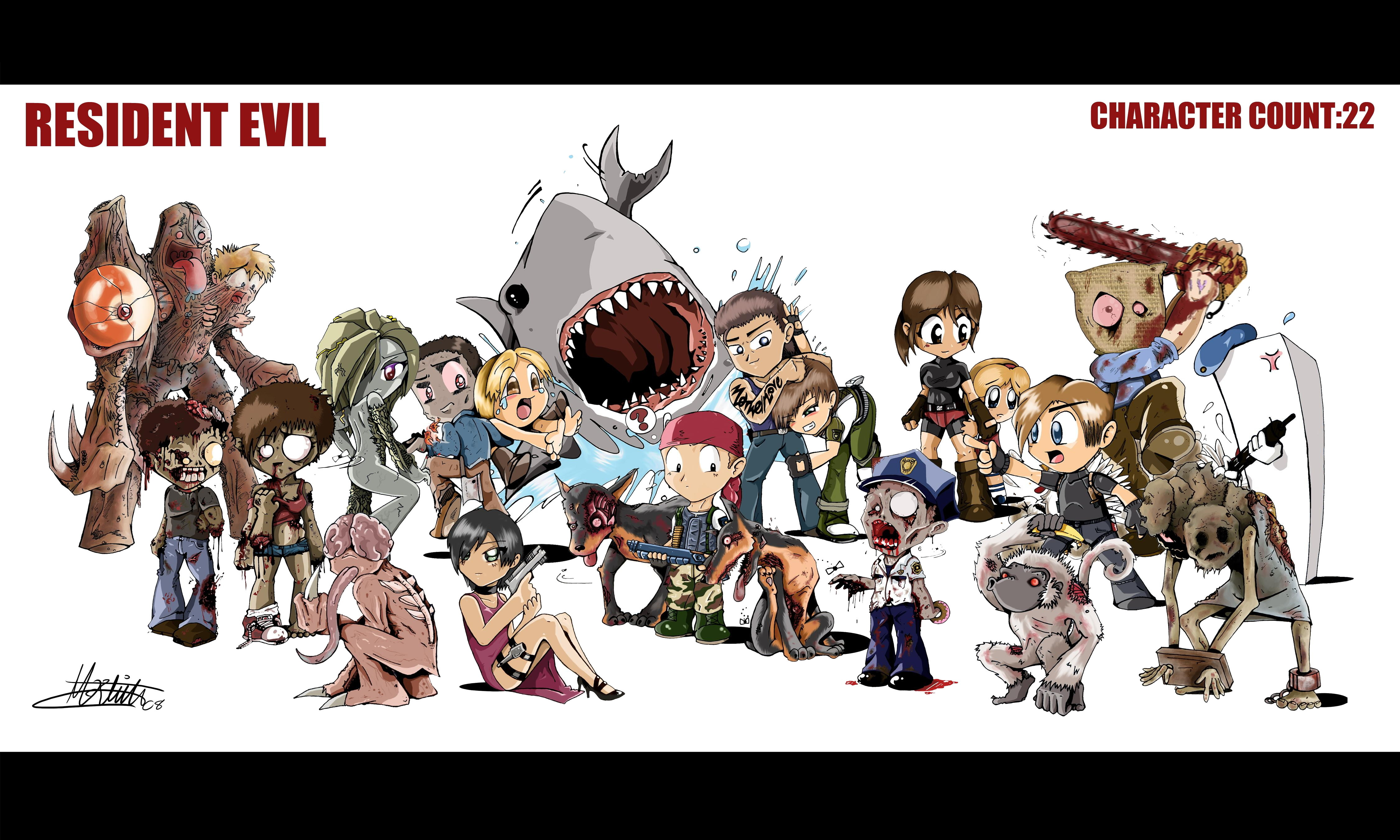 Resident Evil Monsters Chibi HD Wallpaper