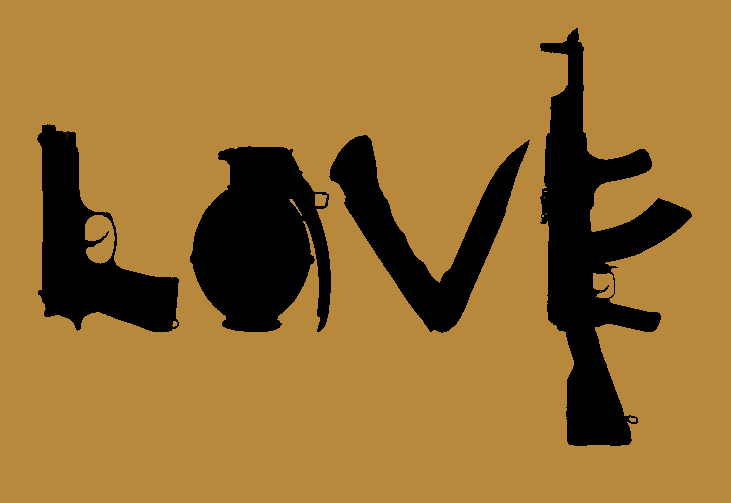 Rifles love Guns silhouettes HD Wallpaper