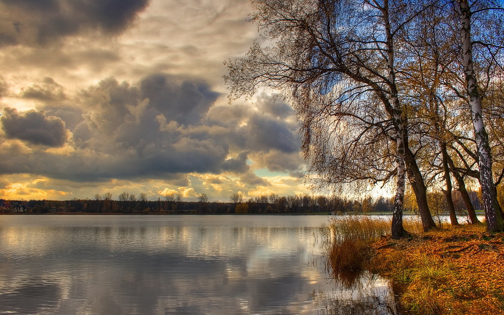river clouds tree water HD Wallpaper