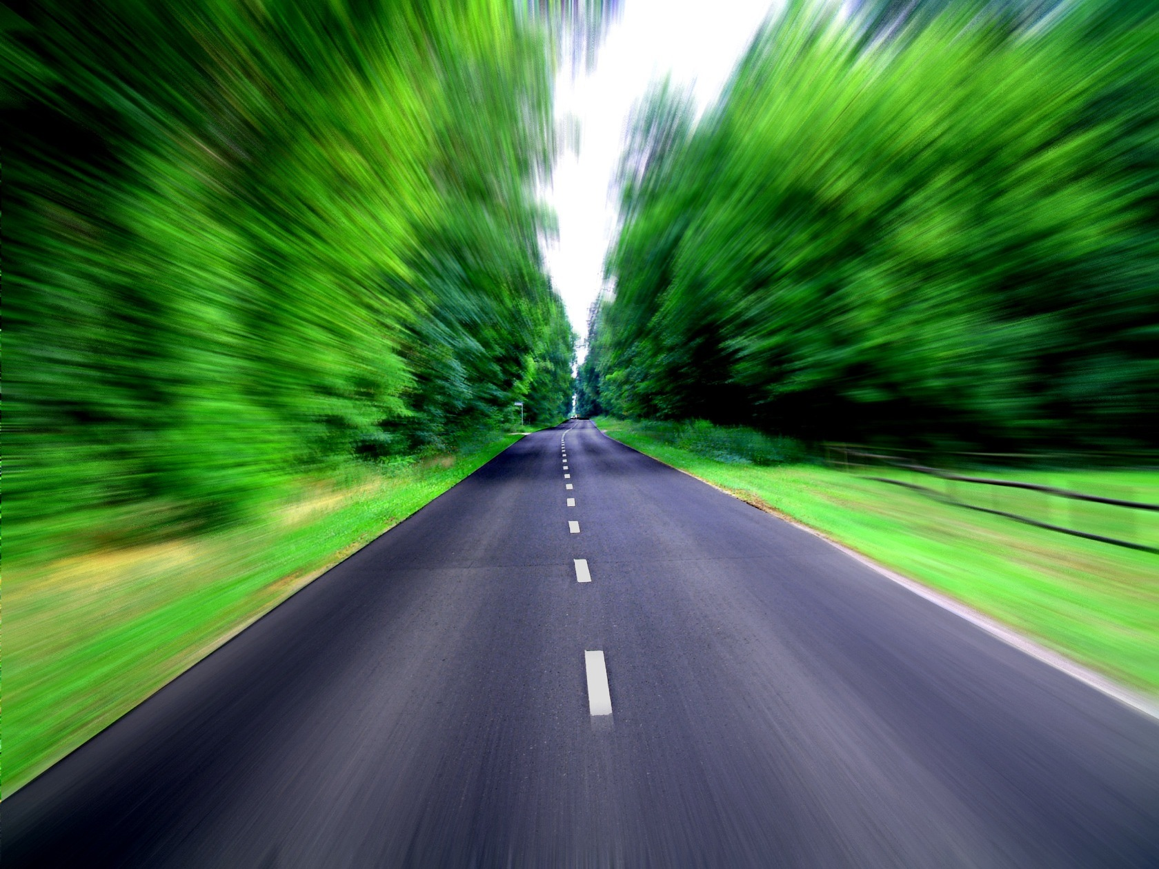road Speed converge Trees HD Wallpaper