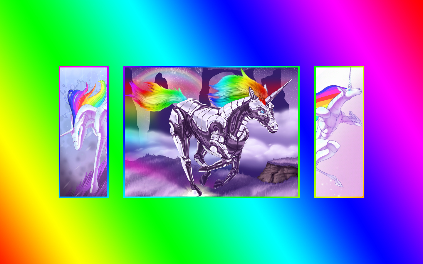 robot unicorn attack rainbows HD Wallpaper