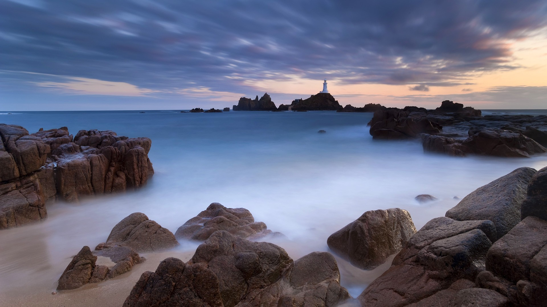 rocks lighthouses Sea HD Wallpaper