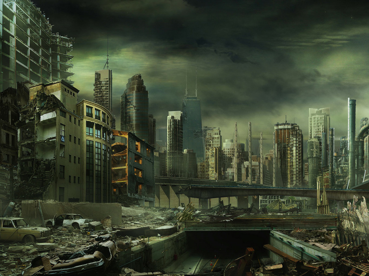 ruins buildings Apocalypse cityscapes